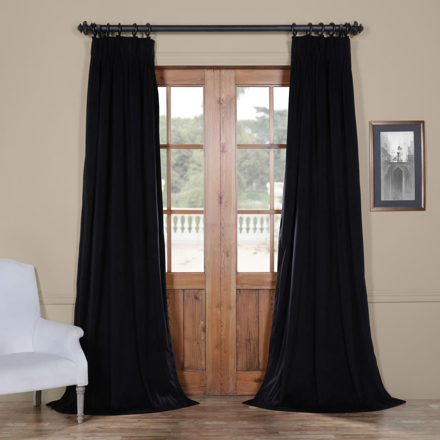 Signature Warm Black Pleated Blackout Velvet Curtain With Regard To Signature Pinch Pleated Blackout Solid Velvet Curtain Panels (View 30 of 36)