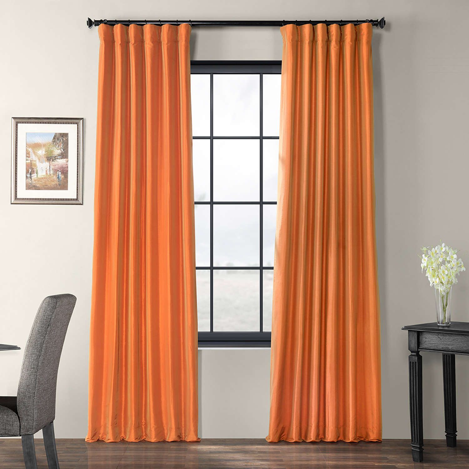 Silk Curtains And Drapes | Silk Curtain Shop With Solid Faux Silk Taffeta Graphite Single Curtain Panels (View 30 of 30)