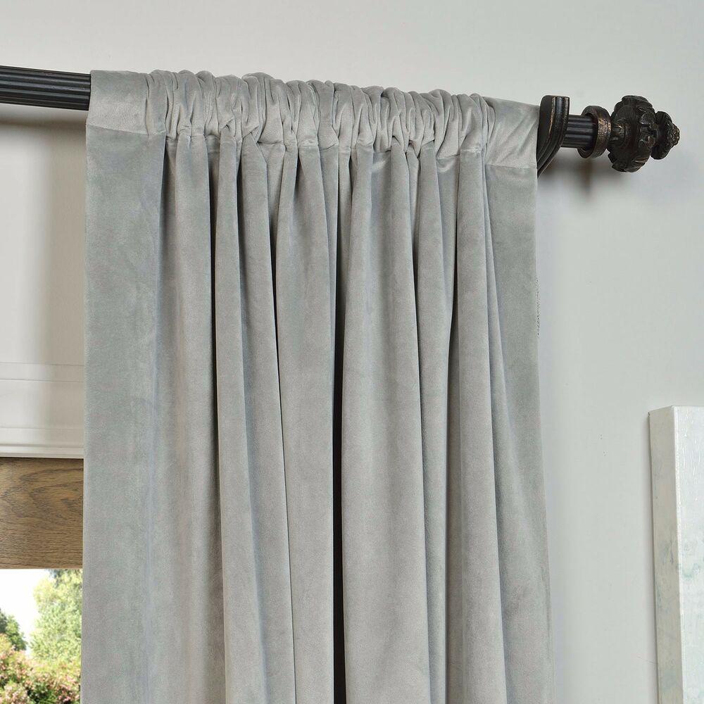 Silver/gray Velvet Blackout Curtain Panel 50X96 (4 Panels) | Ebay Regarding Signature Ivory Velvet Blackout Single Curtain Panels (View 31 of 34)