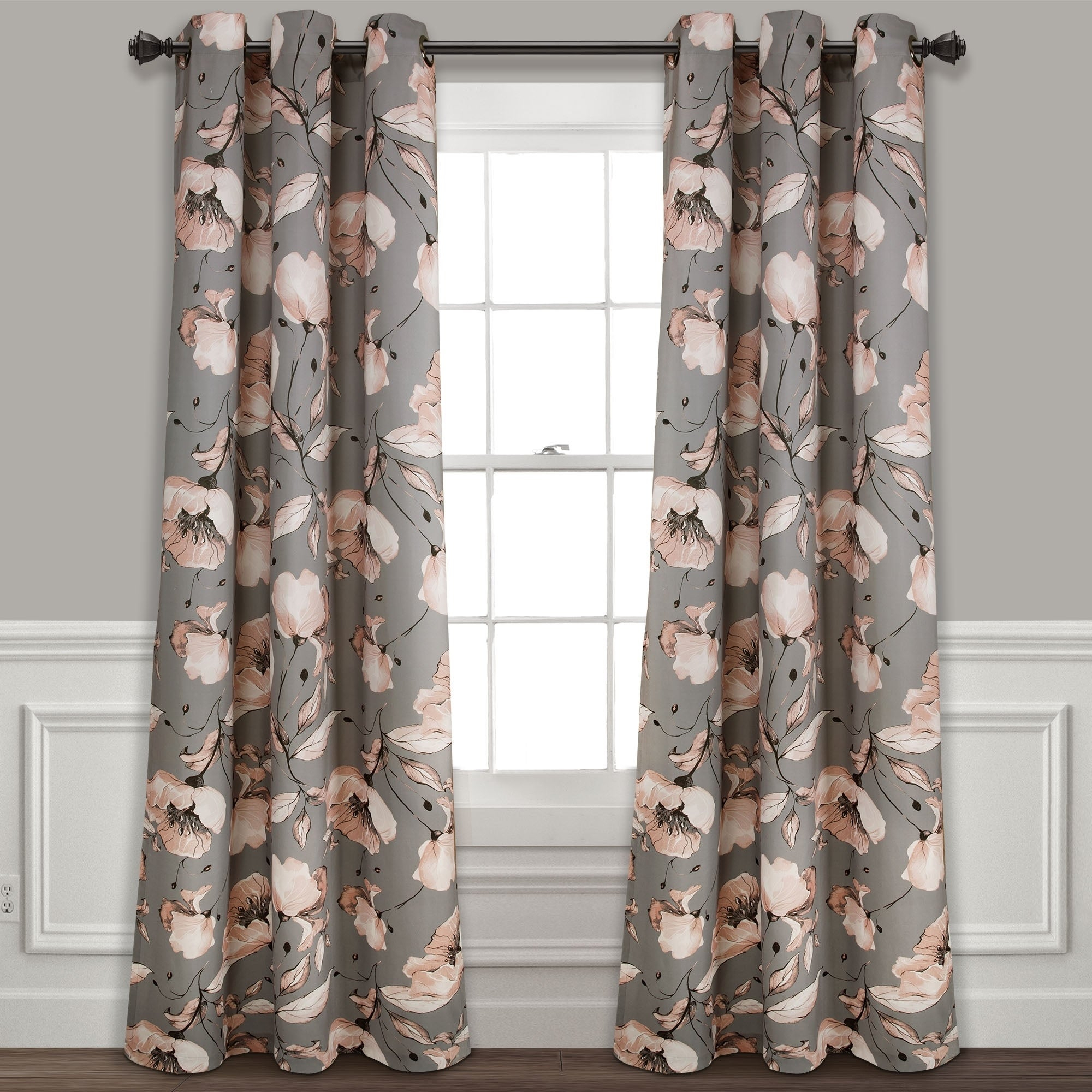 Silver Orchid Lane Blackout Window Curtain Panel Pair Regarding Gray Barn Dogwood Floral Curtain Panel Pairs (View 14 of 20)