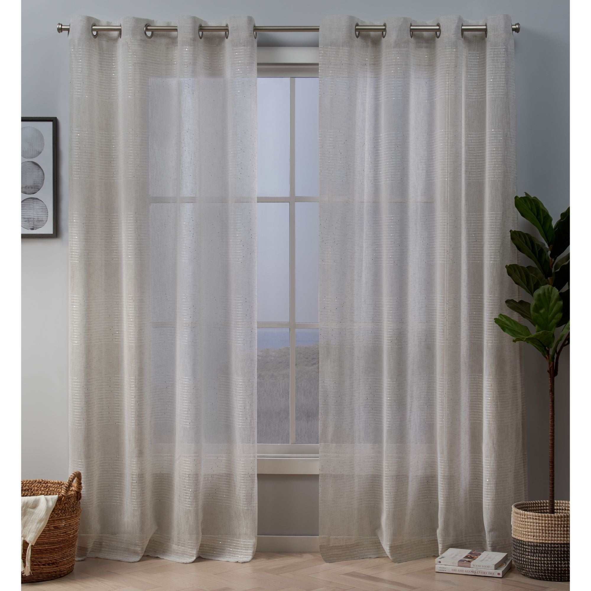 Silver Orchid Robey Embellished Sheer Grommet Top Curtain Panel Pair With Regard To Penny Sheer Grommet Top Curtain Panel Pairs (View 2 of 20)