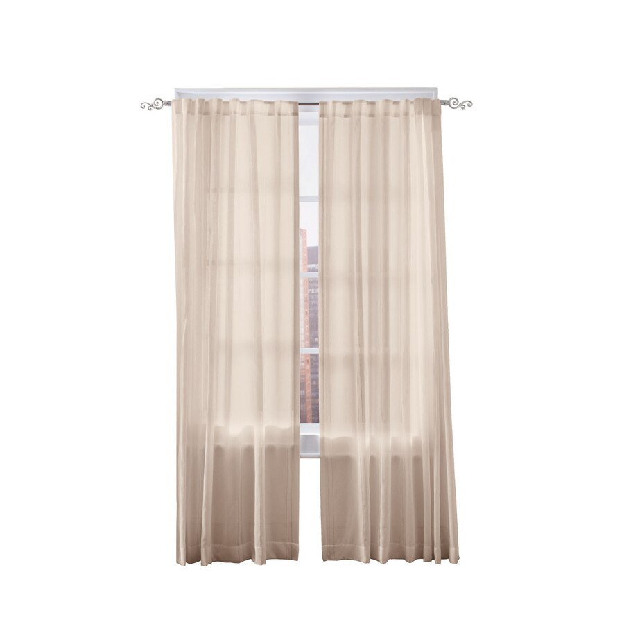 Simply Classic Carolyn 84 In Linen Polyester Back Tab Light Pertaining To Light Filtering Sheer Single Curtain Panels (View 15 of 20)
