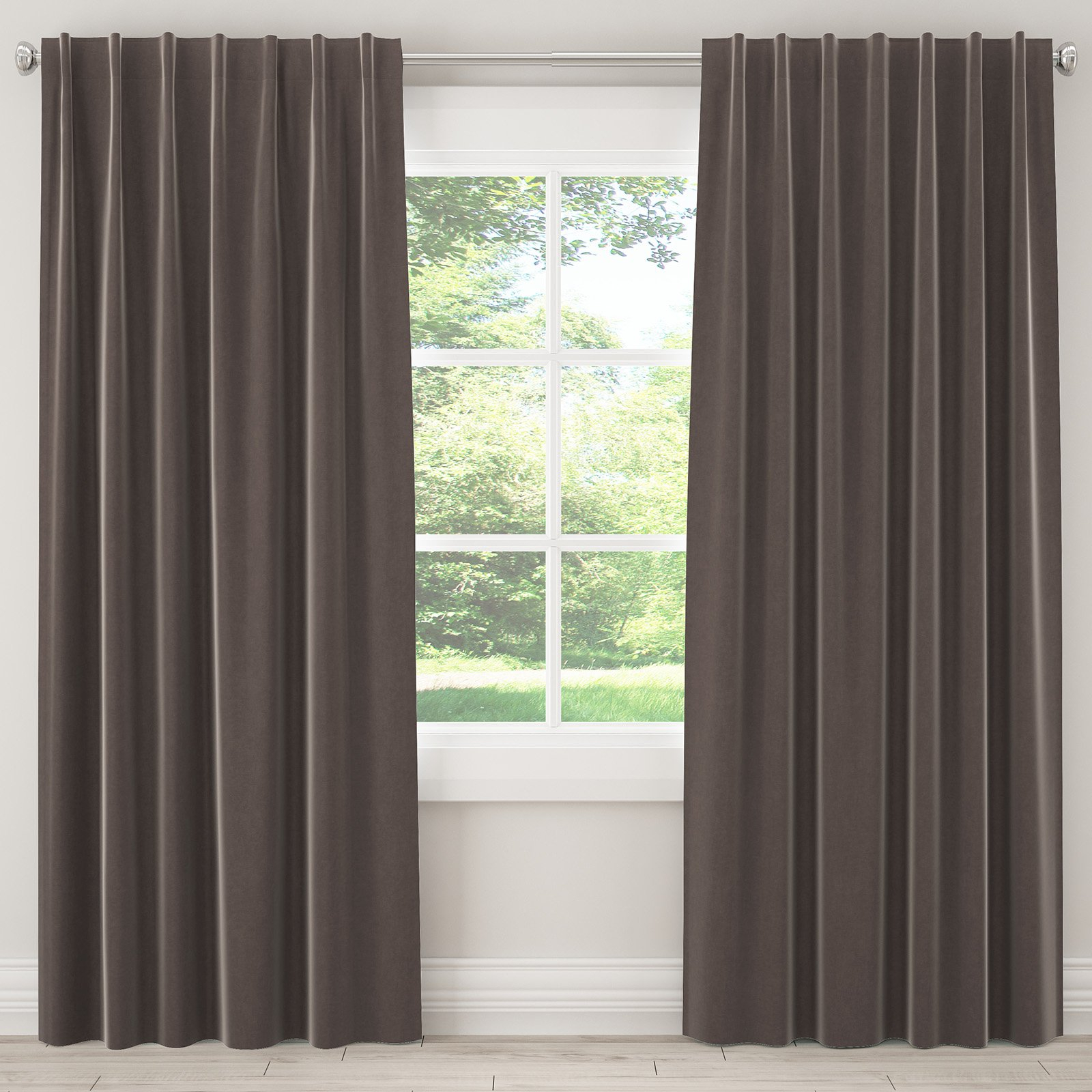Skyline Furniture Velvet Single Panel Rod Pocket Tab Throughout Silvertone Grommet Thermal Insulated Blackout Curtain Panel Pairs (View 30 of 30)