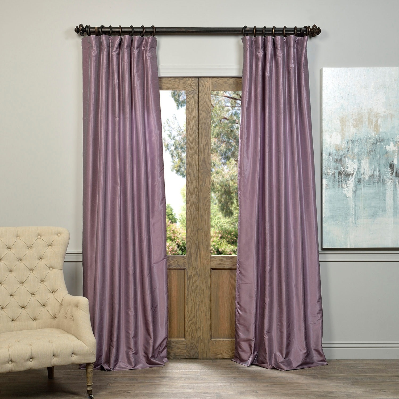 Smoky Plum Vintage Textured Faux Dupioni Silk Single Panel Curtain, 50 X 96 With Regard To Vintage Textured Faux Dupioni Silk Curtain Panels (View 18 of 30)