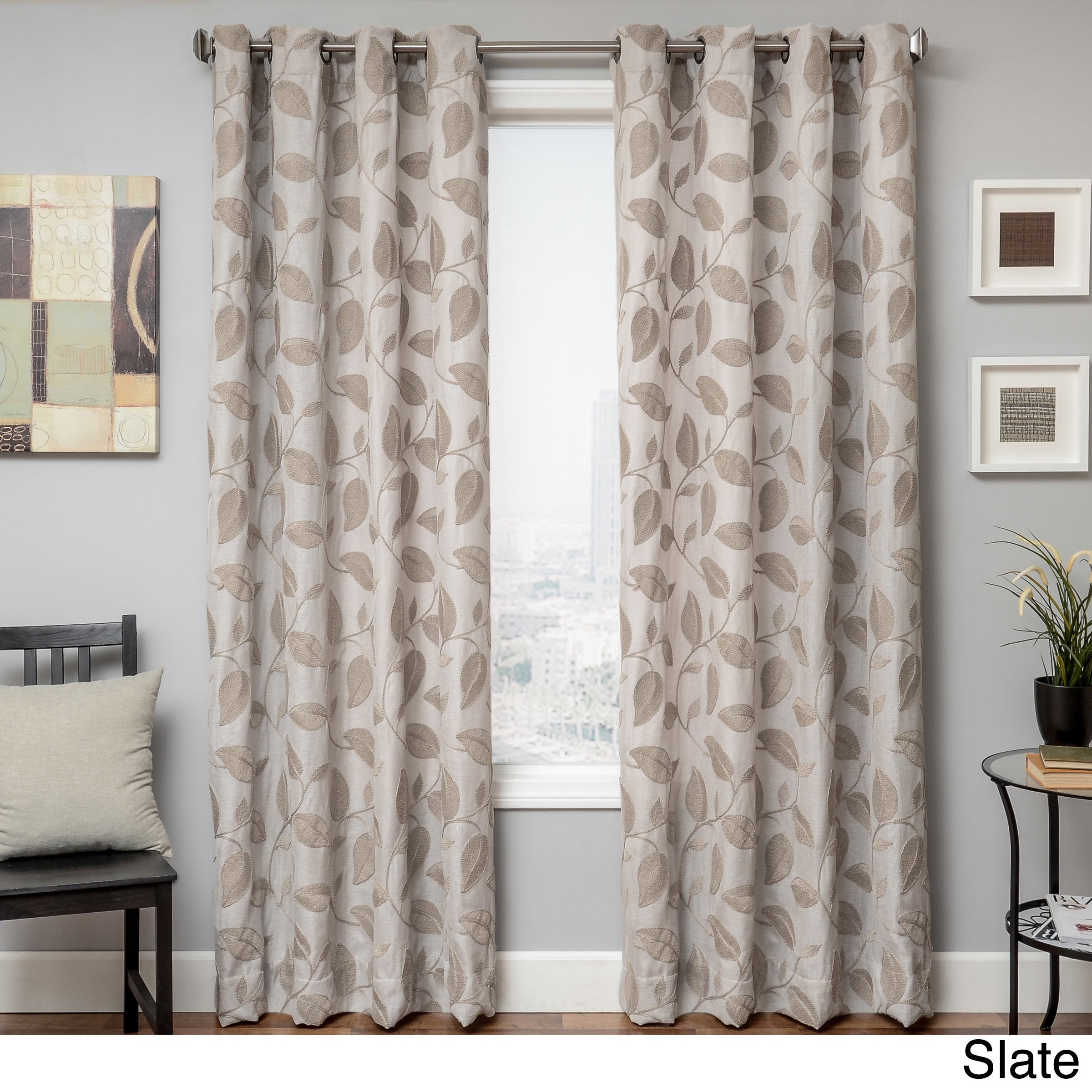 Softline Astra Grommet Top Faux Linen Embroidered Leaf Curtain Panel In Softline Trenton Grommet Top Curtain Panels (View 14 of 30)