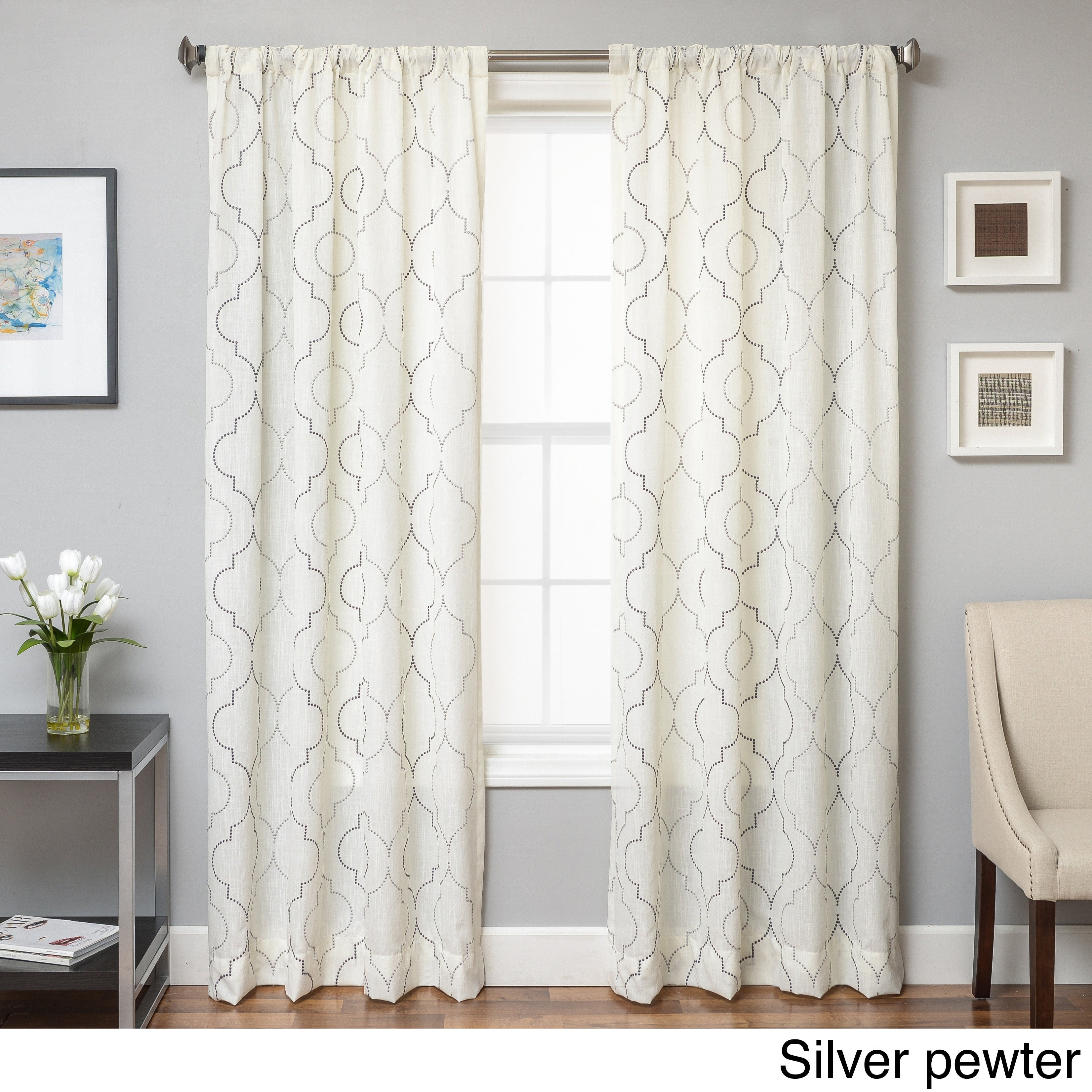 Softline Monza Emboridered Faux Linen Curtain Panel Pertaining To Archaeo Jigsaw Embroidery Linen Blend Curtain Panels (Image 16 of 20)