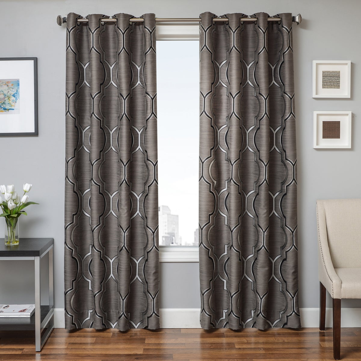 Softline Trenton Grommet Top Curtain Panel Intended For The Curated Nomad Duane Jacquard Grommet Top Curtain Panel Pairs (View 9 of 30)