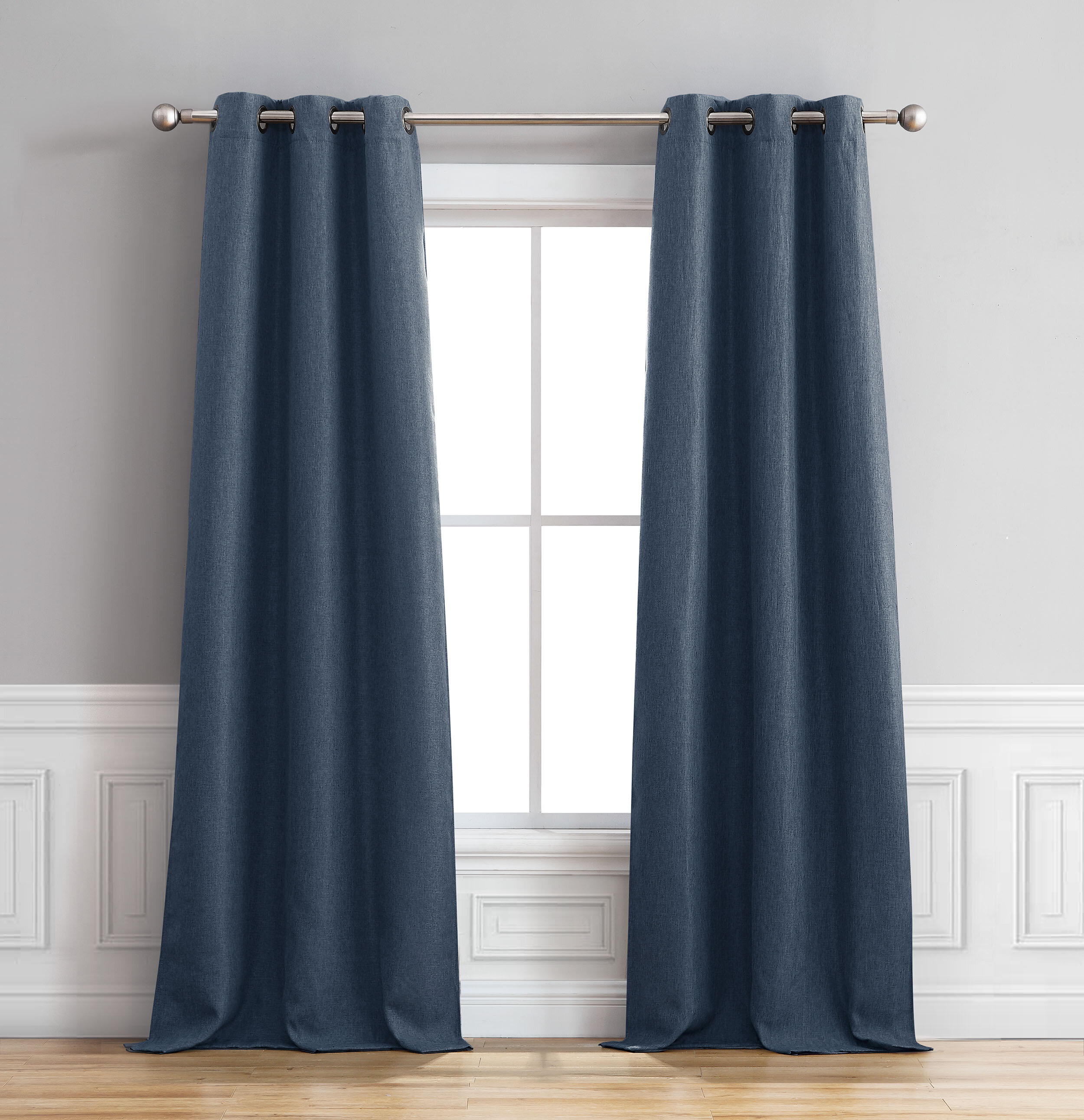 Sokol Faux Linen Room Darkening Thermal Grommet Curtain Panels For Thermal Insulated Blackout Grommet Top Curtain Panel Pairs (View 22 of 30)