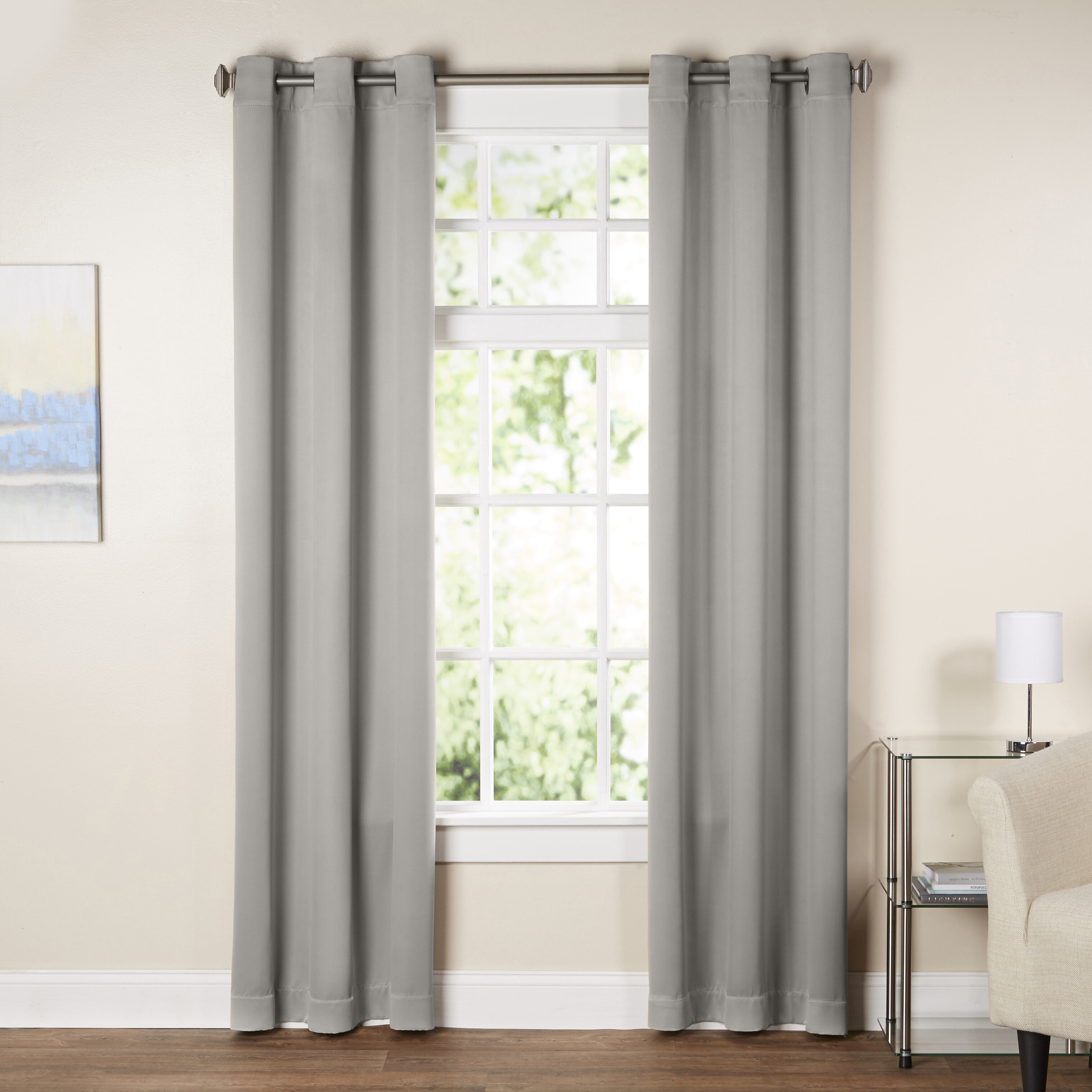 Solid Blackout Grommet Single Curtain Panel Inside Emily Sheer Voile Solid Single Patio Door Curtain Panels (View 17 of 20)