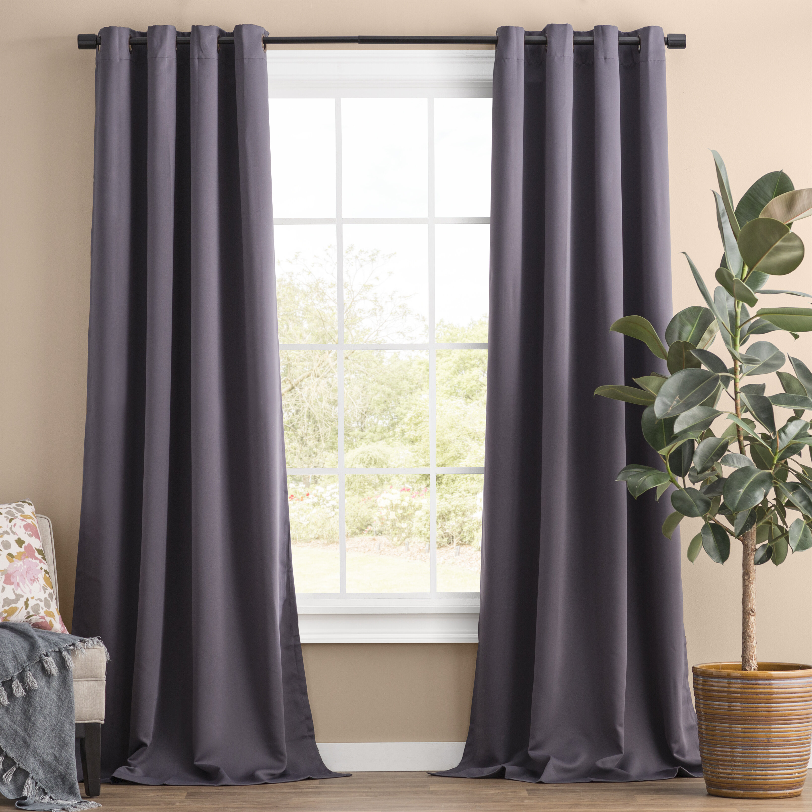 Solid Blackout Thermal Grommet Curtain Panels & Reviews Throughout Thermal Woven Blackout Grommet Top Curtain Panel Pairs (View 17 of 30)