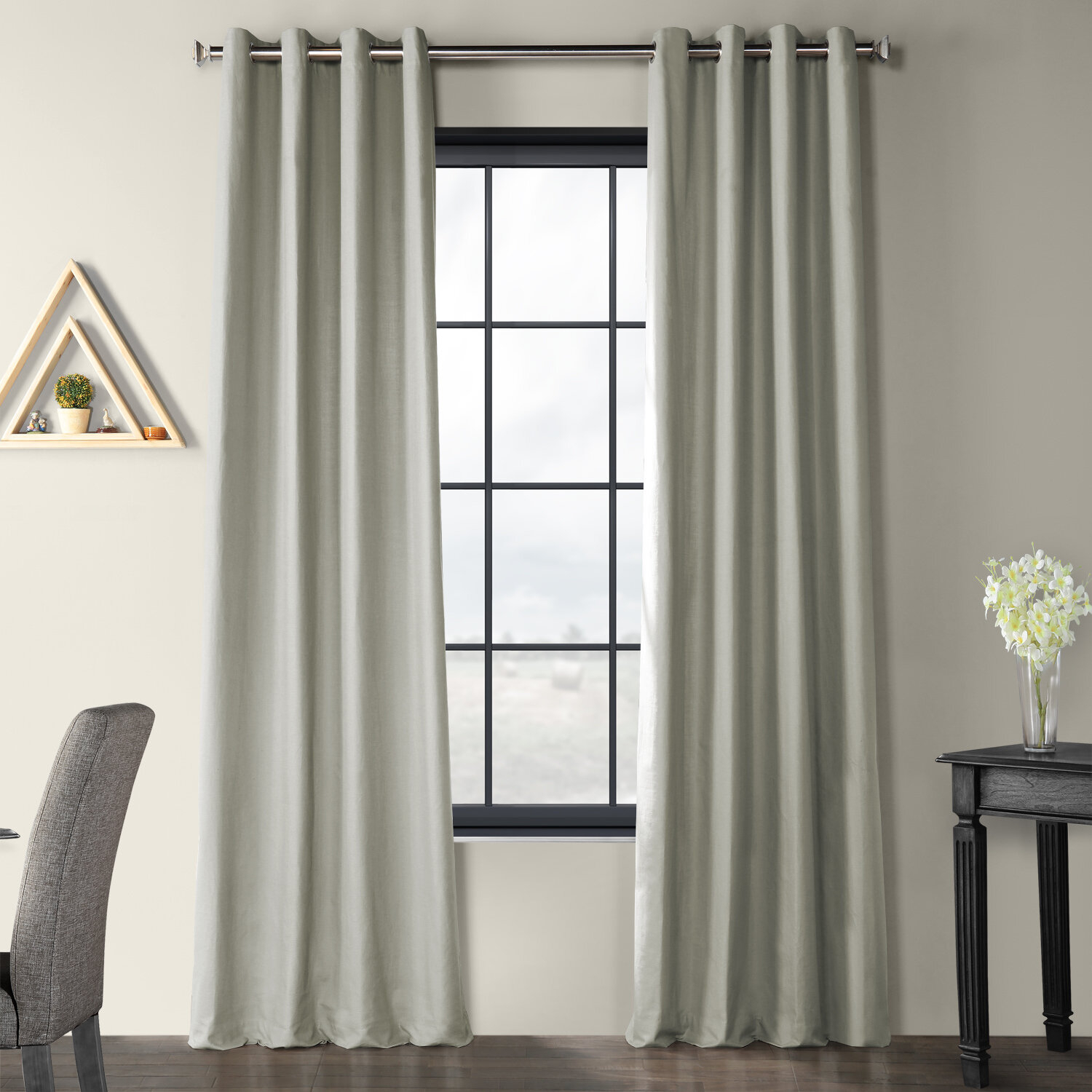 Solid Country Cotton Linen Weave Grommet Indoor Single Curtain Pane Regarding Bark Weave Solid Cotton Curtains (View 17 of 20)