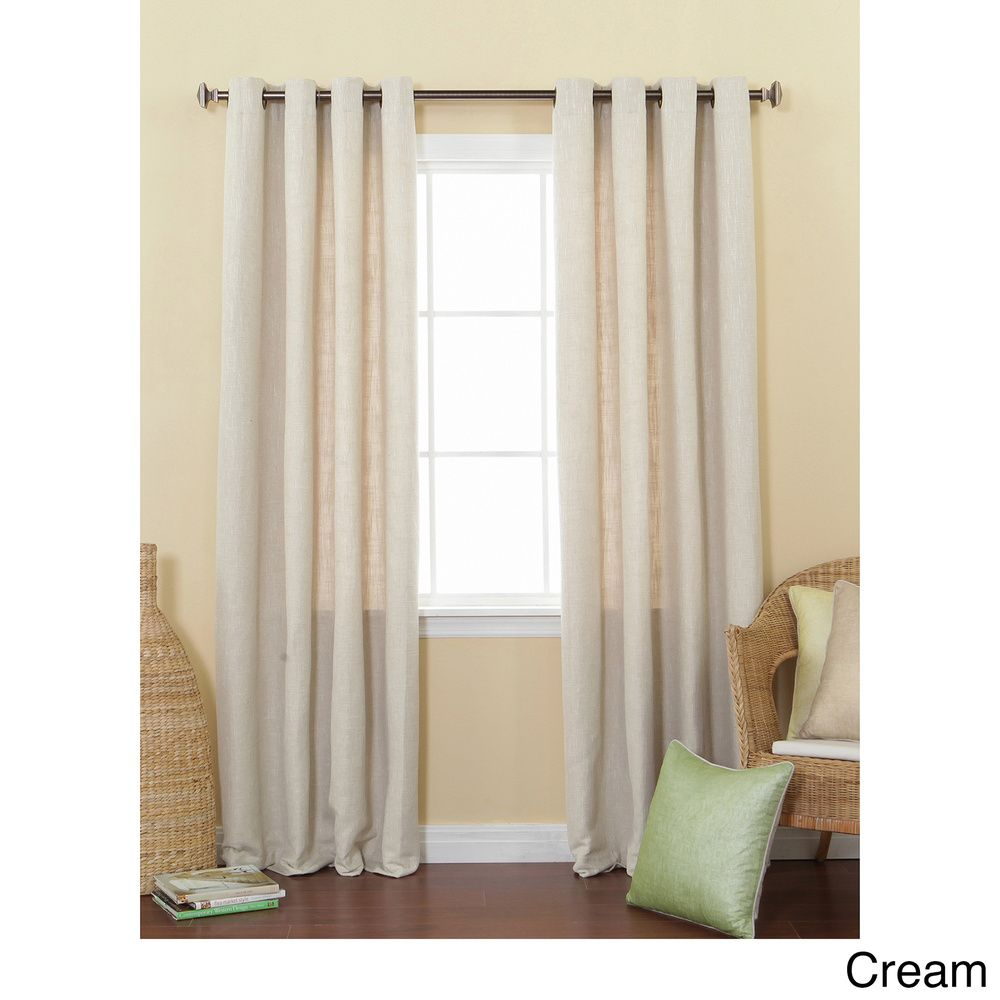 Solid Heavyweight Faux Linen 84 Inch Grommet Top Curtain Regarding Archaeo Slub Textured Linen Blend Grommet Top Curtains (Image 20 of 20)