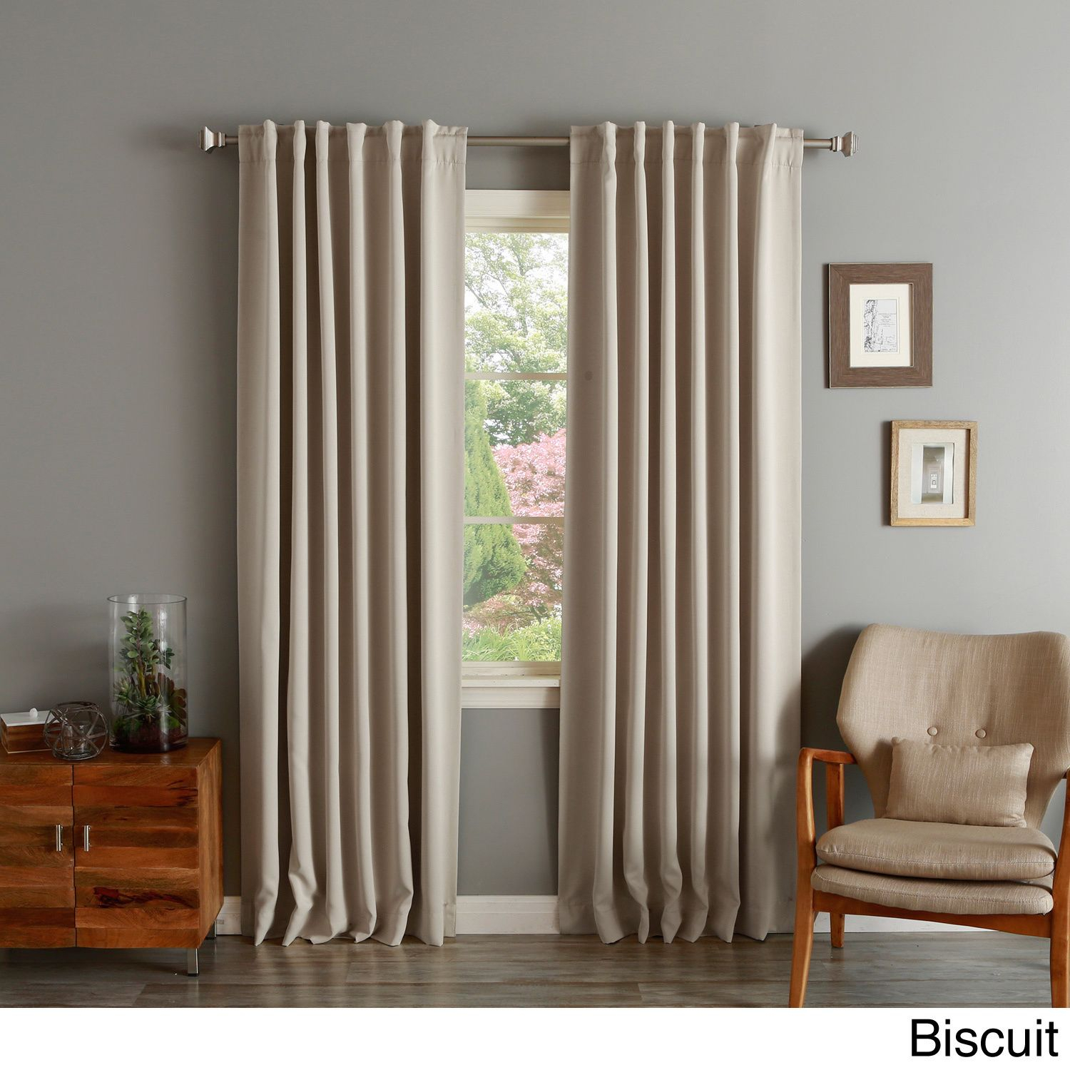 Solid Insulated Thermal Blackout Curtain Panel Pair In 2019 Regarding Julia Striped Room Darkening Window Curtain Panel Pairs (View 4 of 20)