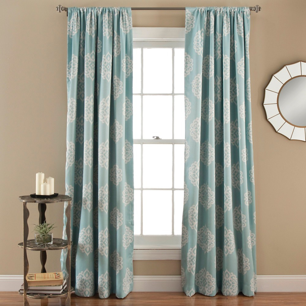 Sophie Curtain Panels Room Darkening – Set Of 2 – Blue Within Julia Striped Room Darkening Window Curtain Panel Pairs (View 6 of 20)