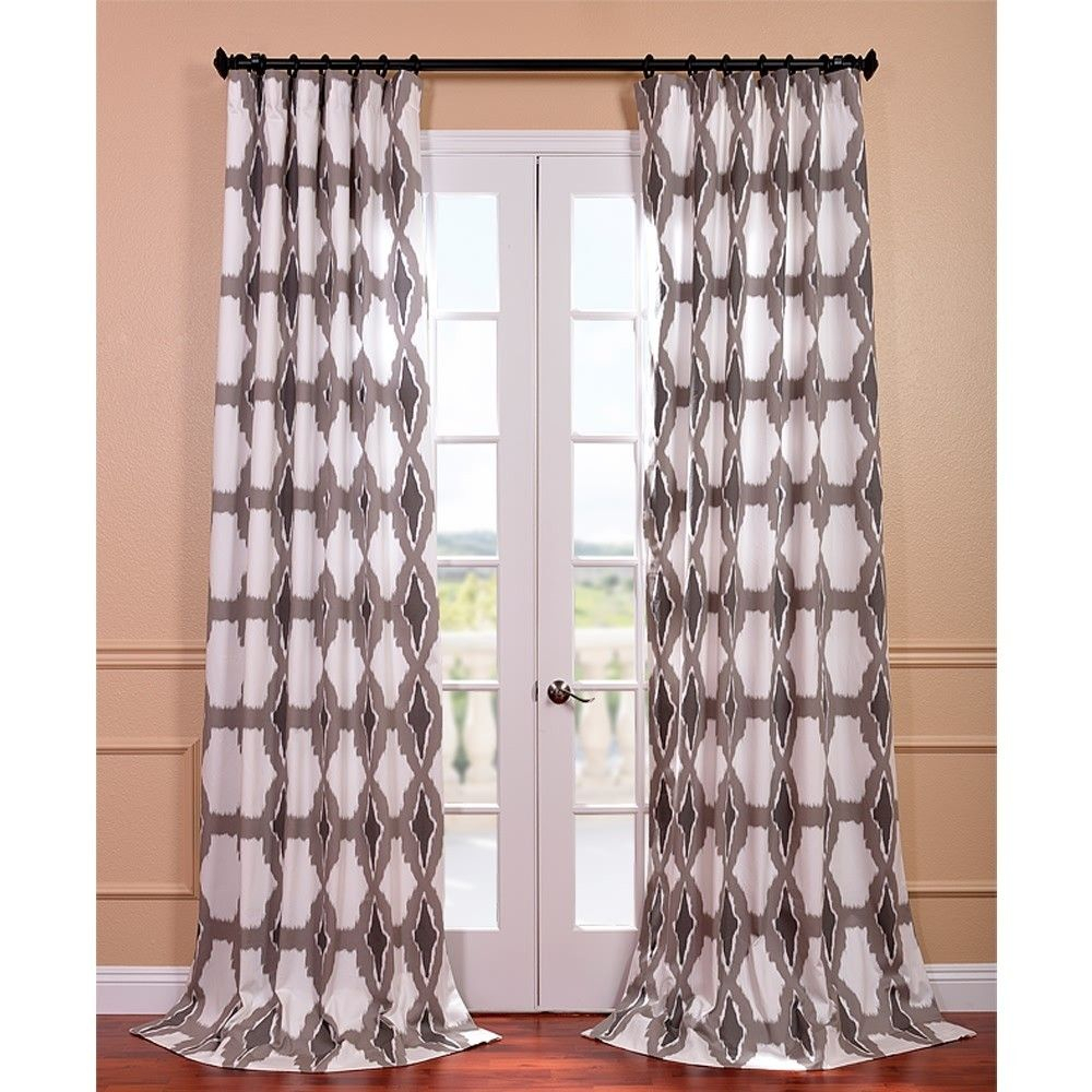 Sorong Grey Printed Cotton Pole Pocket Curtain Panel Pertaining To Sarong Grey Printed Cotton Pole Pocket Single Curtain Panels (View 18 of 20)