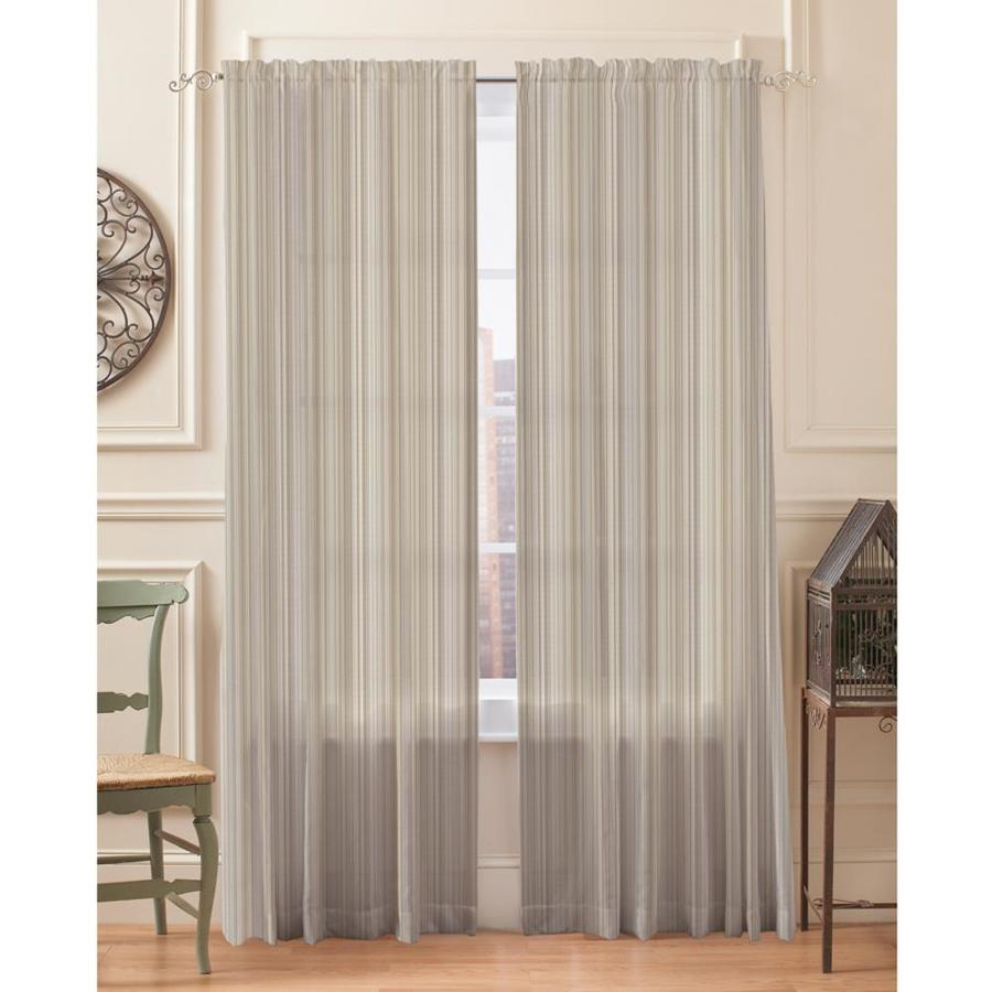 Springmaid Sheer Stripe 95 In Taupe Polyester Light In Light Filtering Sheer Single Curtain Panels (View 5 of 20)