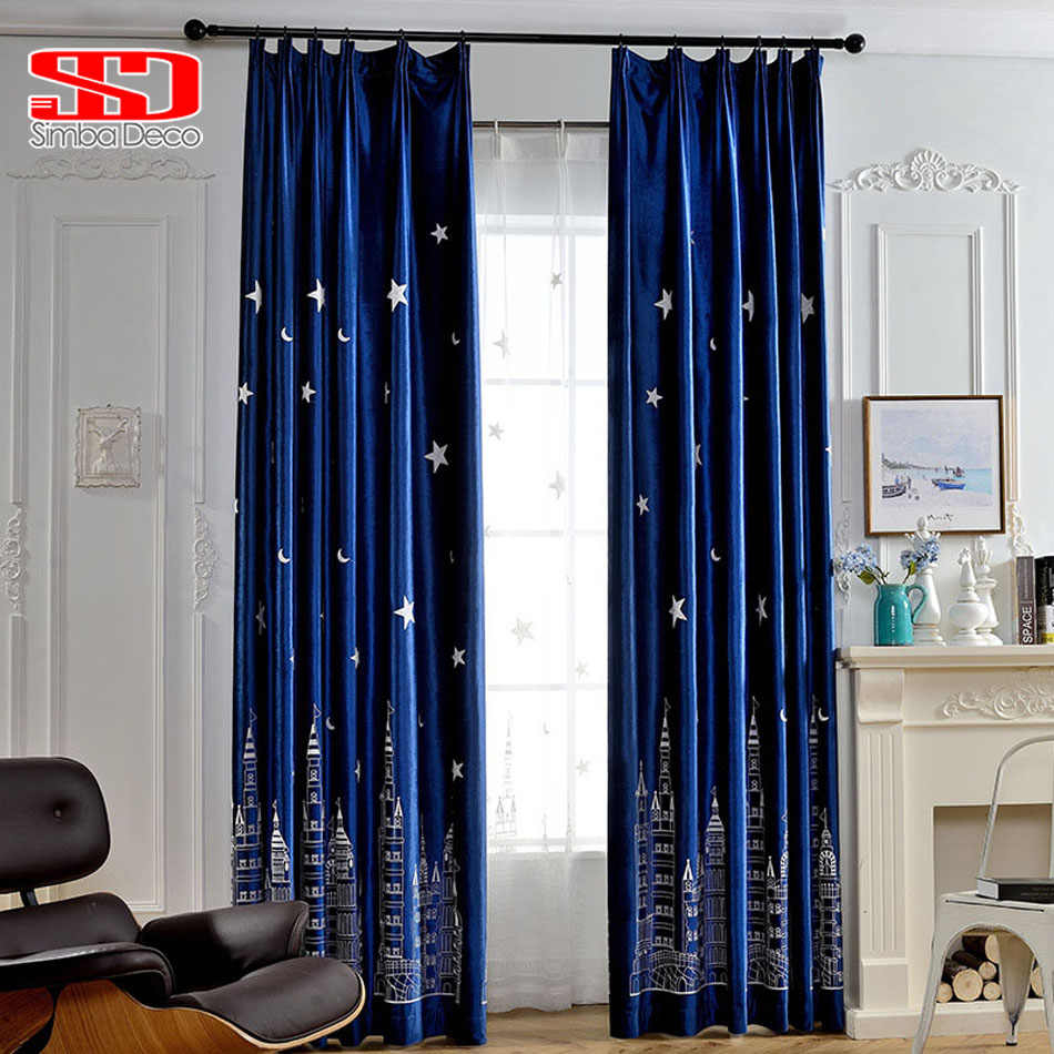 Stars Luxury Velvet Blackout Curtains For Living Room Moon Throughout Velvet Solid Room Darkening Window Curtain Panel Sets (View 24 of 30)