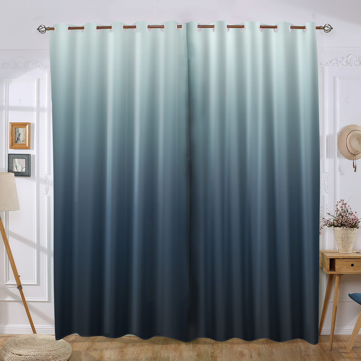 Steel Blue Ombre Gradient Grey Window Curtain Quality Elegant Drapes Throughout Ombre Embroidery Curtain Panels (View 18 of 20)