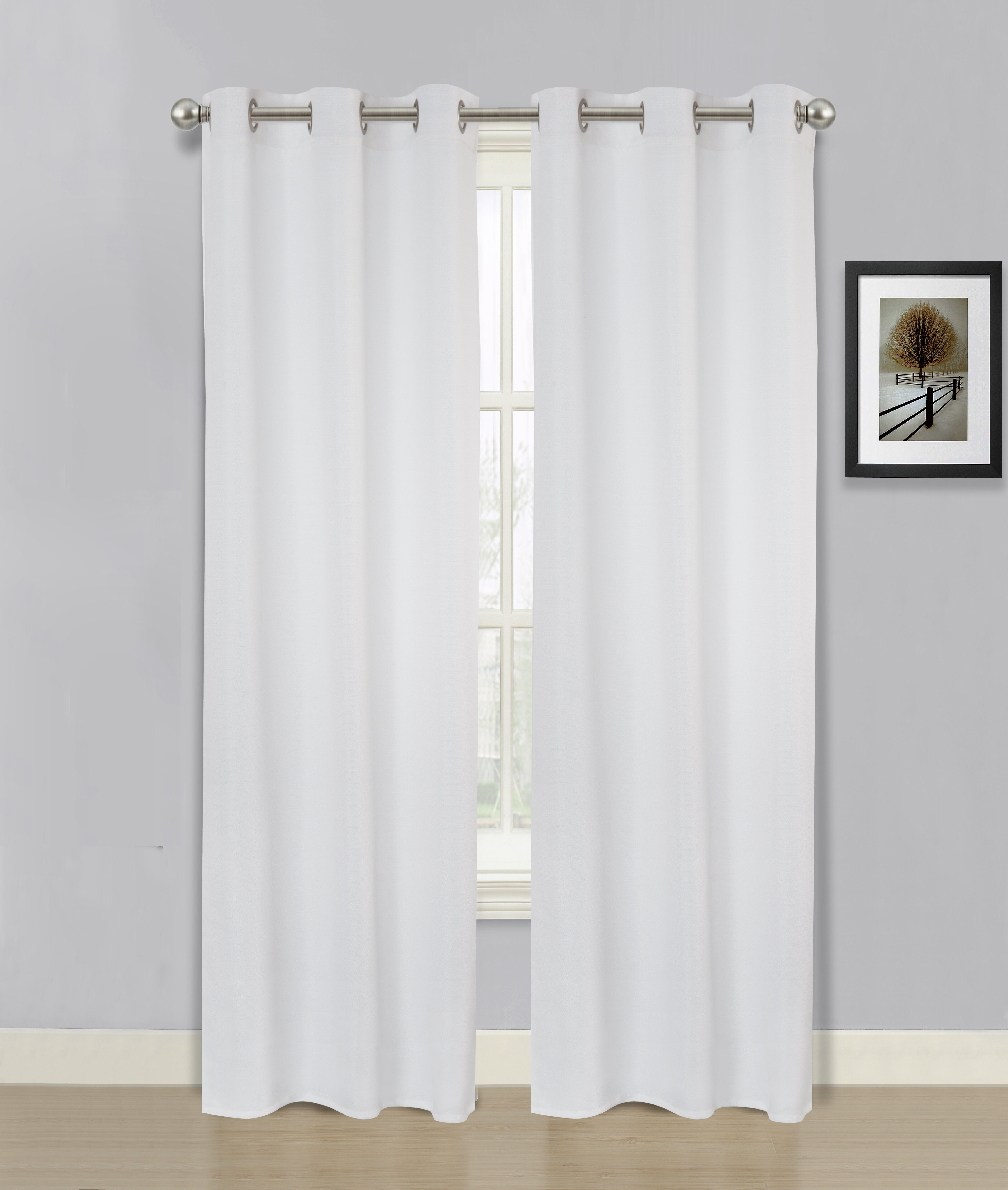 Steinbeck Faux Linen Solid Semi Sheer Grommet Curtain Panels For Solid Country Cotton Linen Weave Curtain Panels (View 28 of 30)