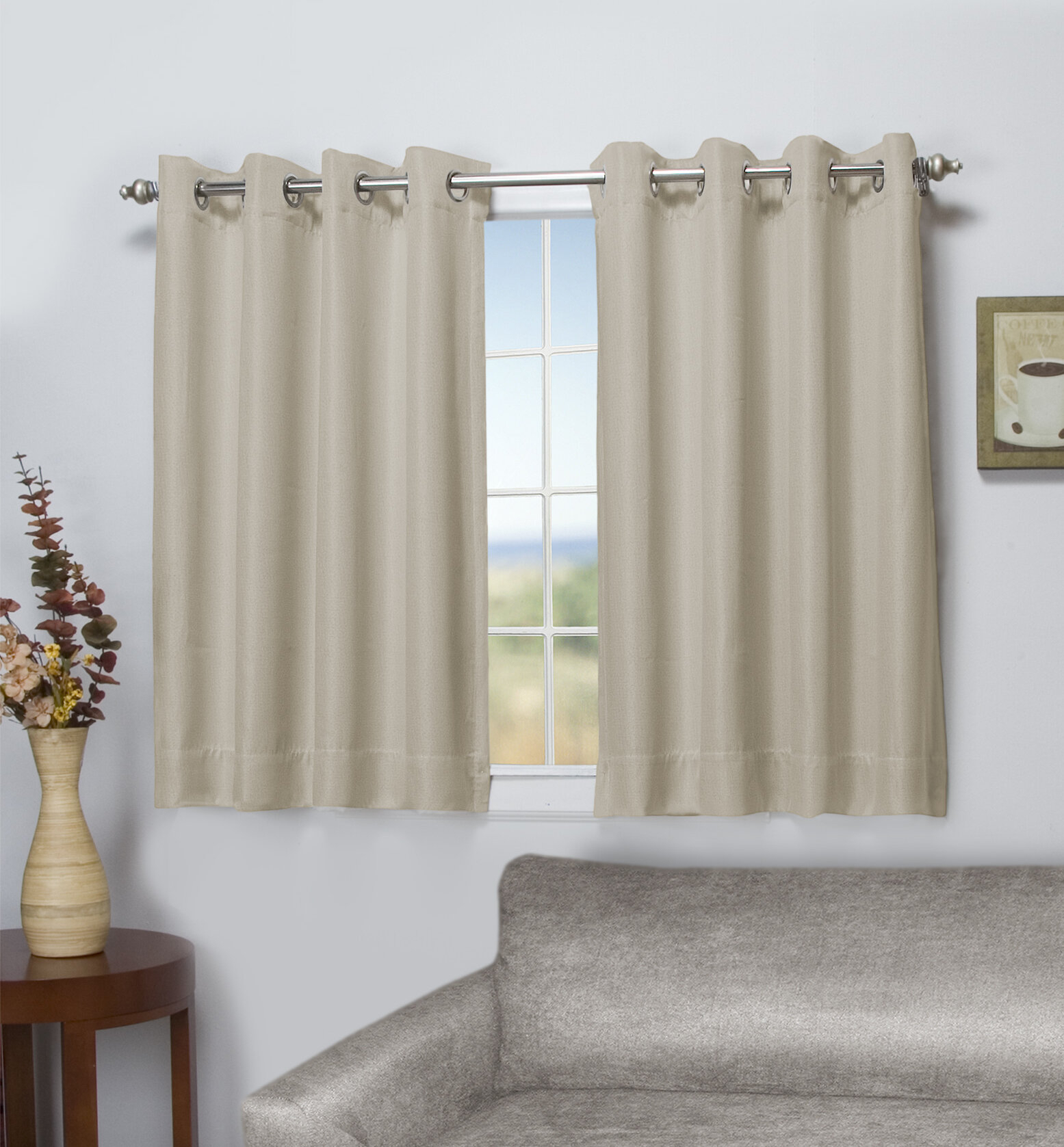Stephane Short Solid Blackout Thermal Grommet Single Curtain Panel Within Superior Solid Insulated Thermal Blackout Grommet Curtain Panel Pairs (View 22 of 30)