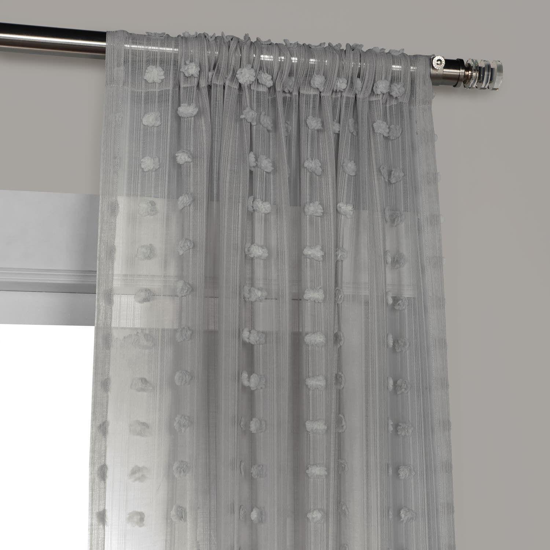 Strasbourg Dot Grey Patterned Linen Sheer Curtain | Sheer Inside Montpellier Striped Linen Sheer Curtains (View 14 of 20)