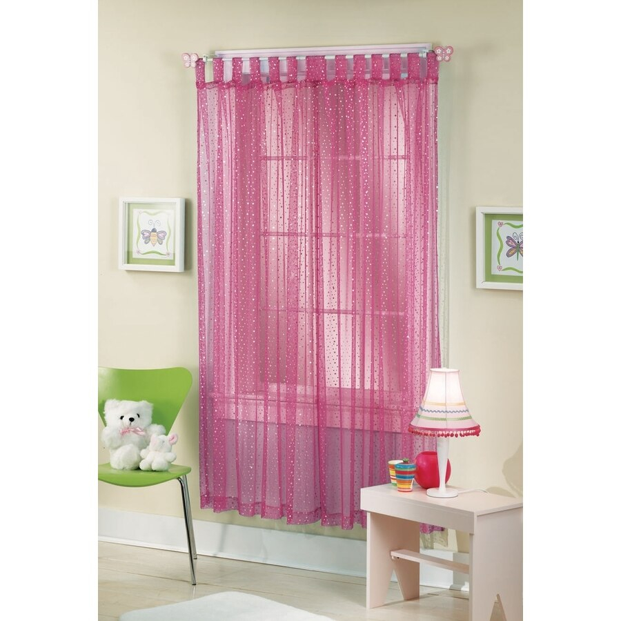 Style Selections Icicle 84 In Raspberry Polyester Top Tab In Tab Top Sheer Single Curtain Panels (View 29 of 30)