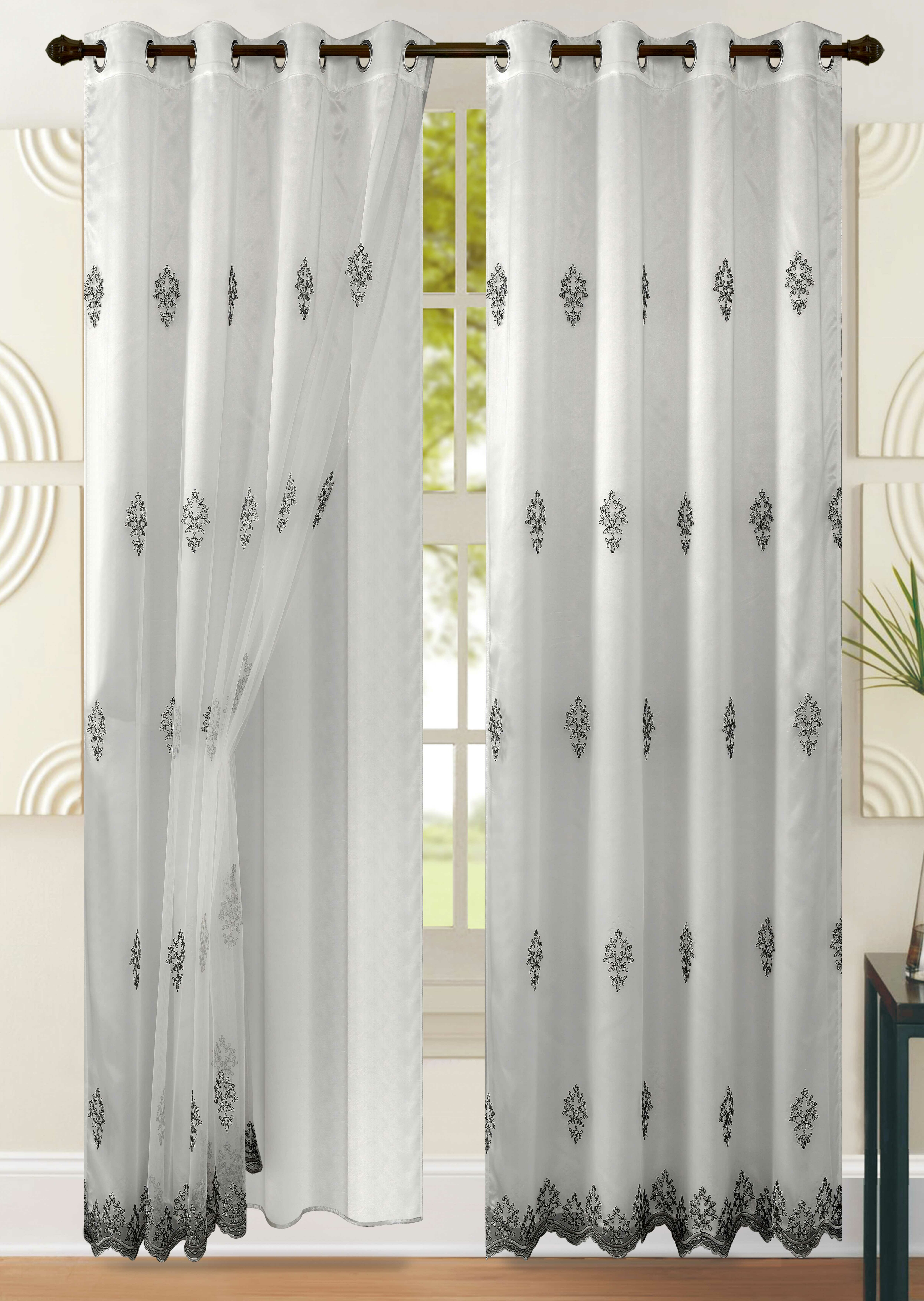 Success Floral/flower Sheer Single Curtain Panel Inside Wavy Leaves Embroidered Sheer Extra Wide Grommet Curtain Panels (View 15 of 30)