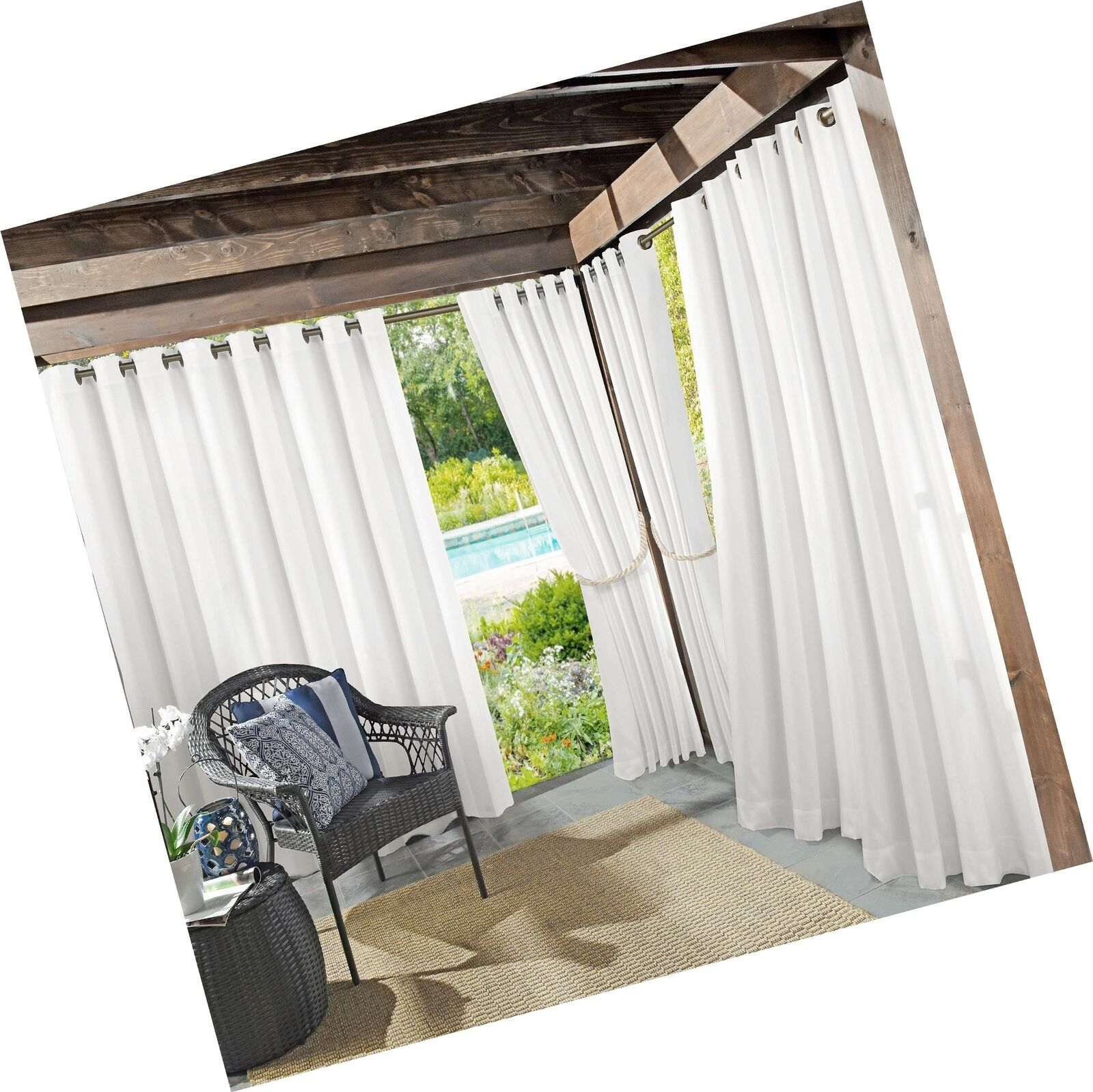"""Sun Zero Beacon Woven Indoor/outdoor Uv Protectant Grommet Curtain Panel 52"""" Intended For Valencia Cabana Stripe Indoor/outdoor Curtain Panels (View 20 of 30)"""