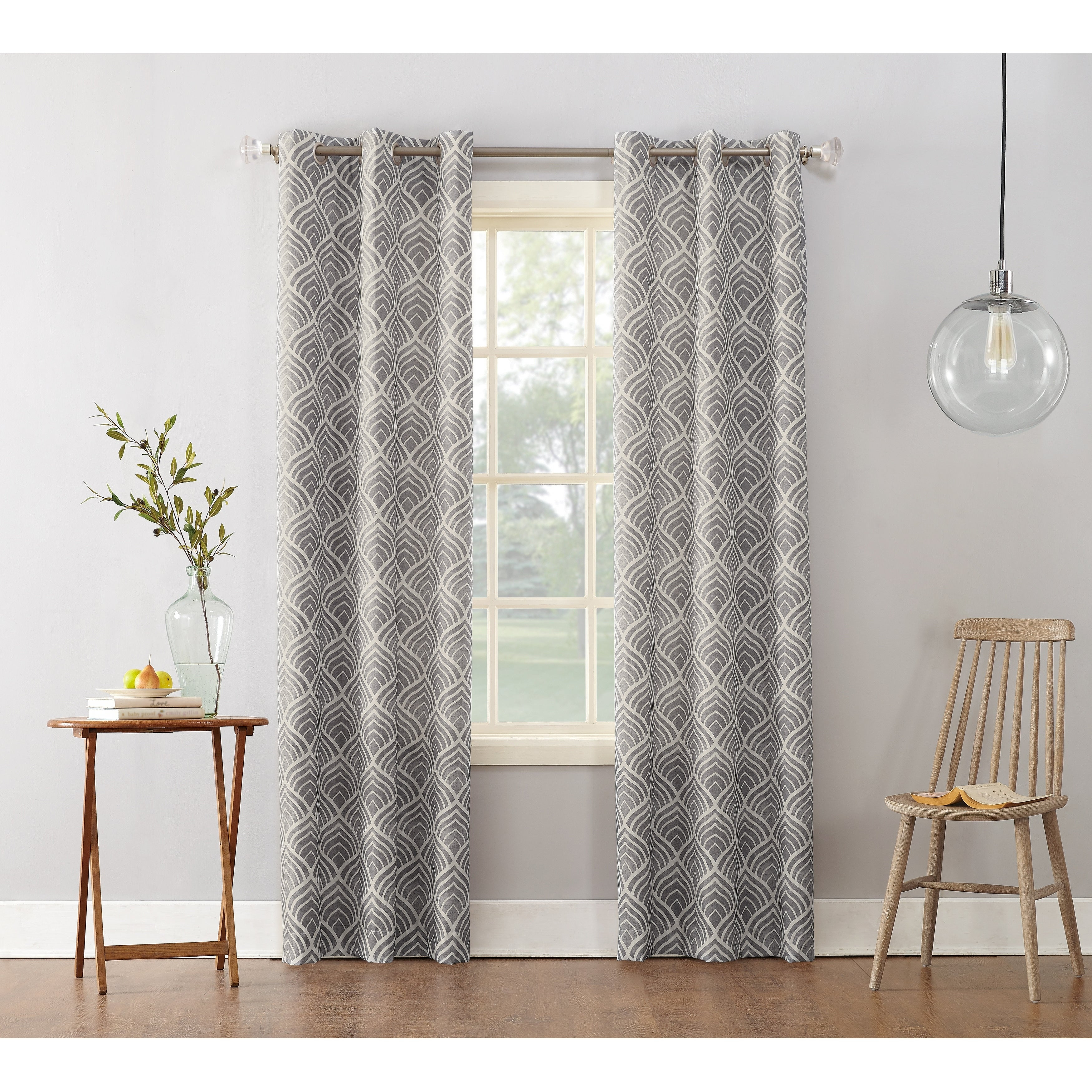Sun Zero Clarke Geometric Print Textured Thermal Insulated Grommet Curtain Panel Regarding Geometric Print Textured Thermal Insulated Grommet Curtain Panels (View 2 of 20)