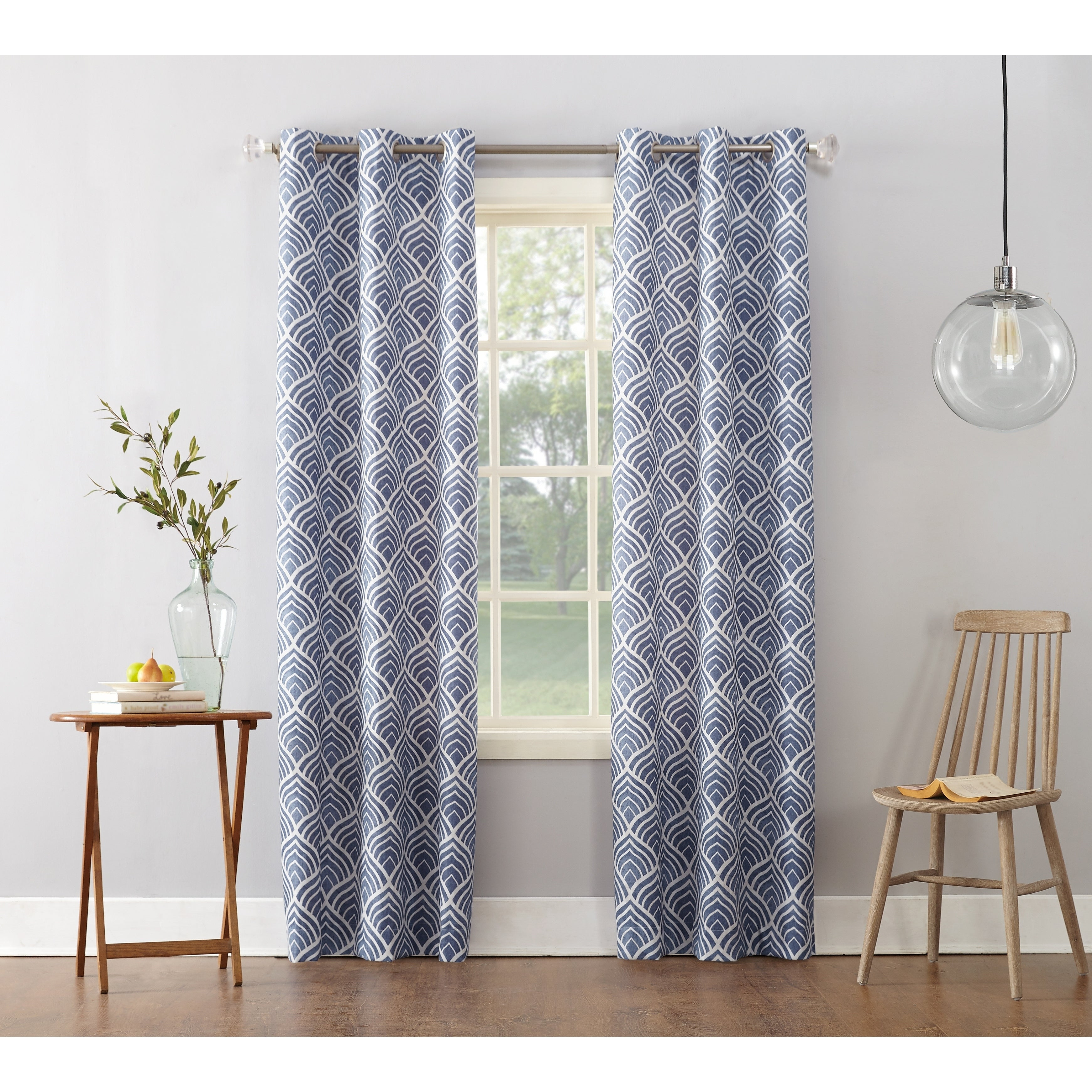 Featured Photo of Geometric Print Textured Thermal Insulated Grommet Curtain Panels
