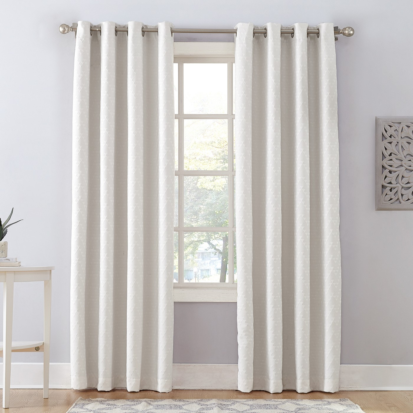 Sun Zero Corinne Woven Geometric Blackout Lined Grommet Curtain Panel – White, 52x84 Inside Geometric Print Textured Thermal Insulated Grommet Curtain Panels (View 18 of 20)