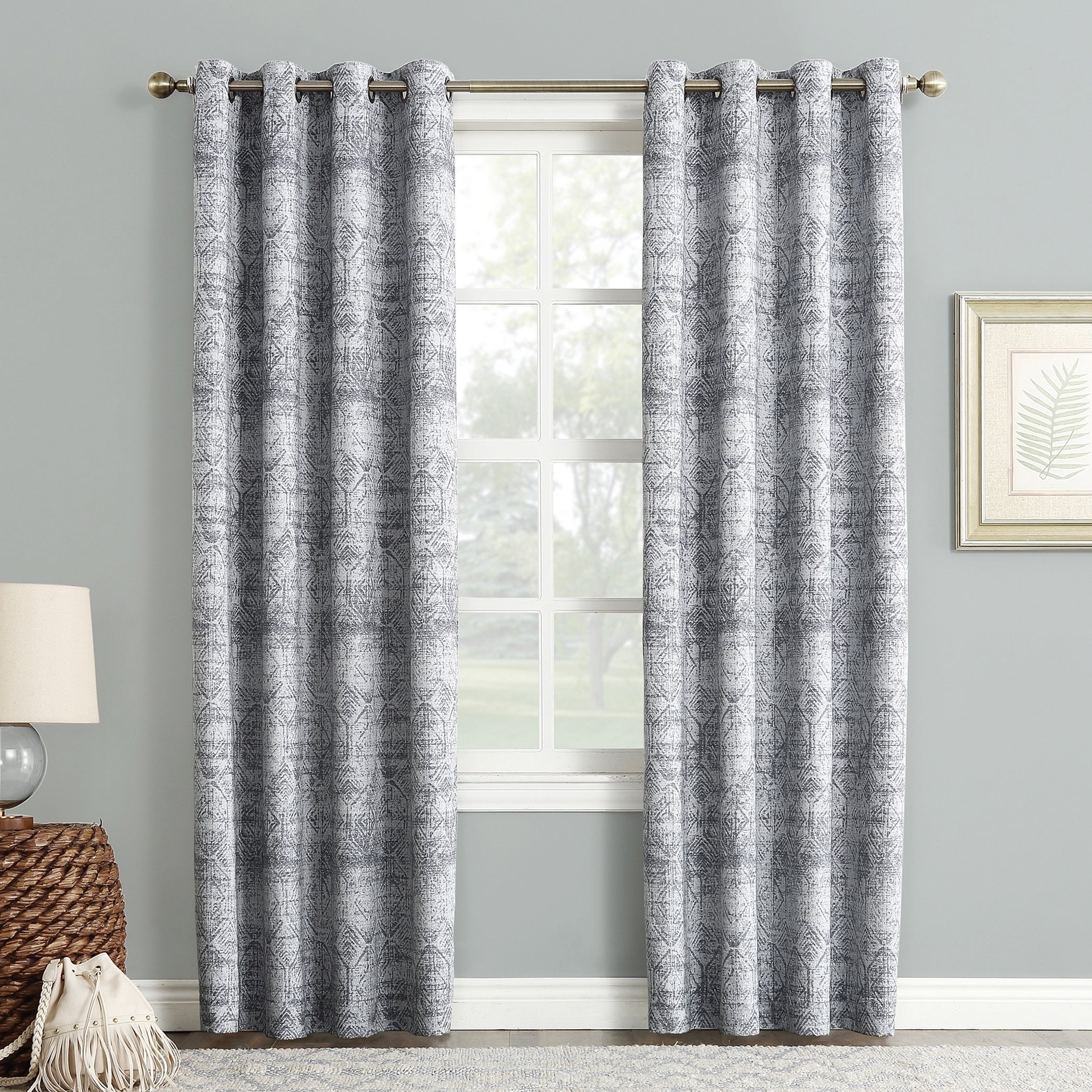 Sun Zero Darren Distressed Global Blackout Lined Grommet Curtain Panel Inside Lined Grommet Curtain Panels (View 2 of 20)