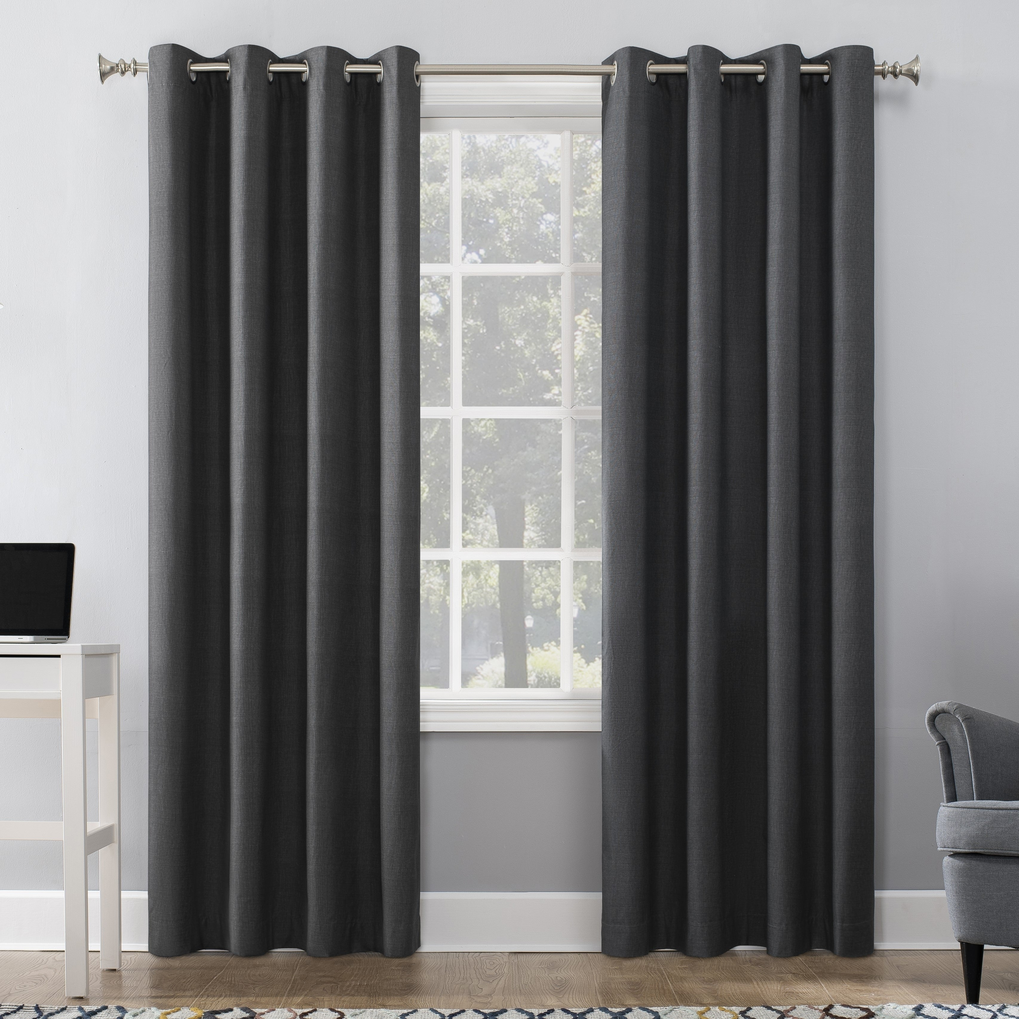 Sun Zero Duran Thermal Insulated 100% Blackout Grommet Curtain Panel Within Blackout Grommet Curtain Panels (View 4 of 20)