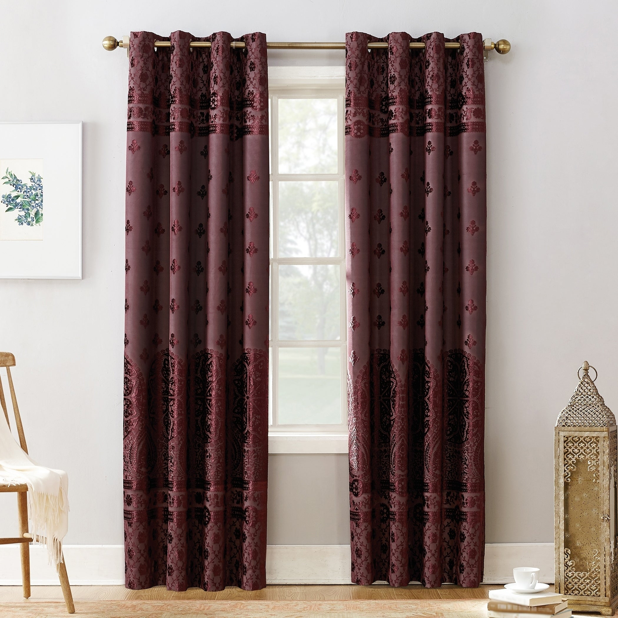 Sun Zero Elidah Velvet Medallion Blackout Grommet Curtain Panel For Velvet Dream Silver Curtain Panel Pairs (View 11 of 31)