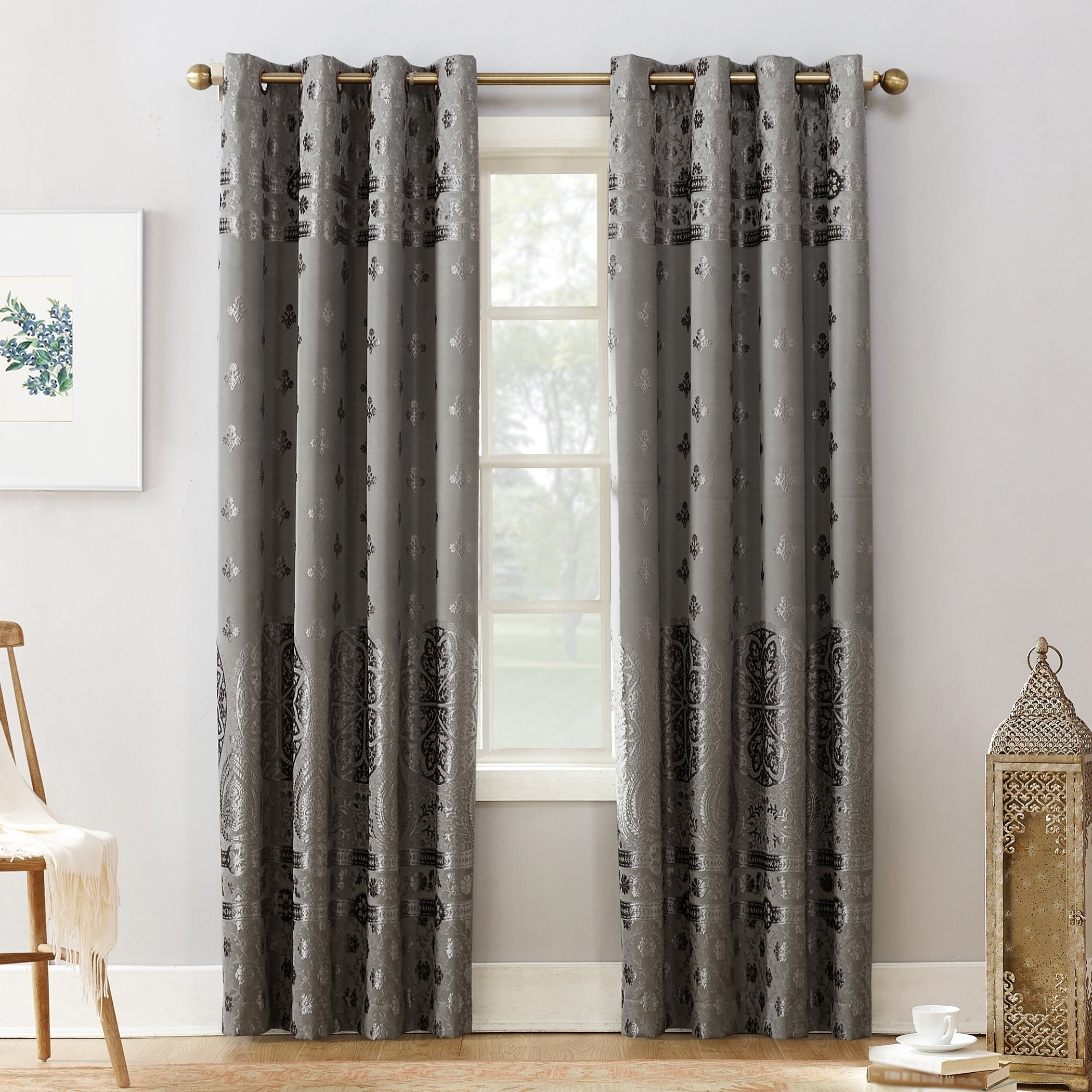 Sun Zero Elidah Velvet Medallion Blackout Grommet Curtain Panel Within Velvet Dream Silver Curtain Panel Pairs (View 6 of 31)