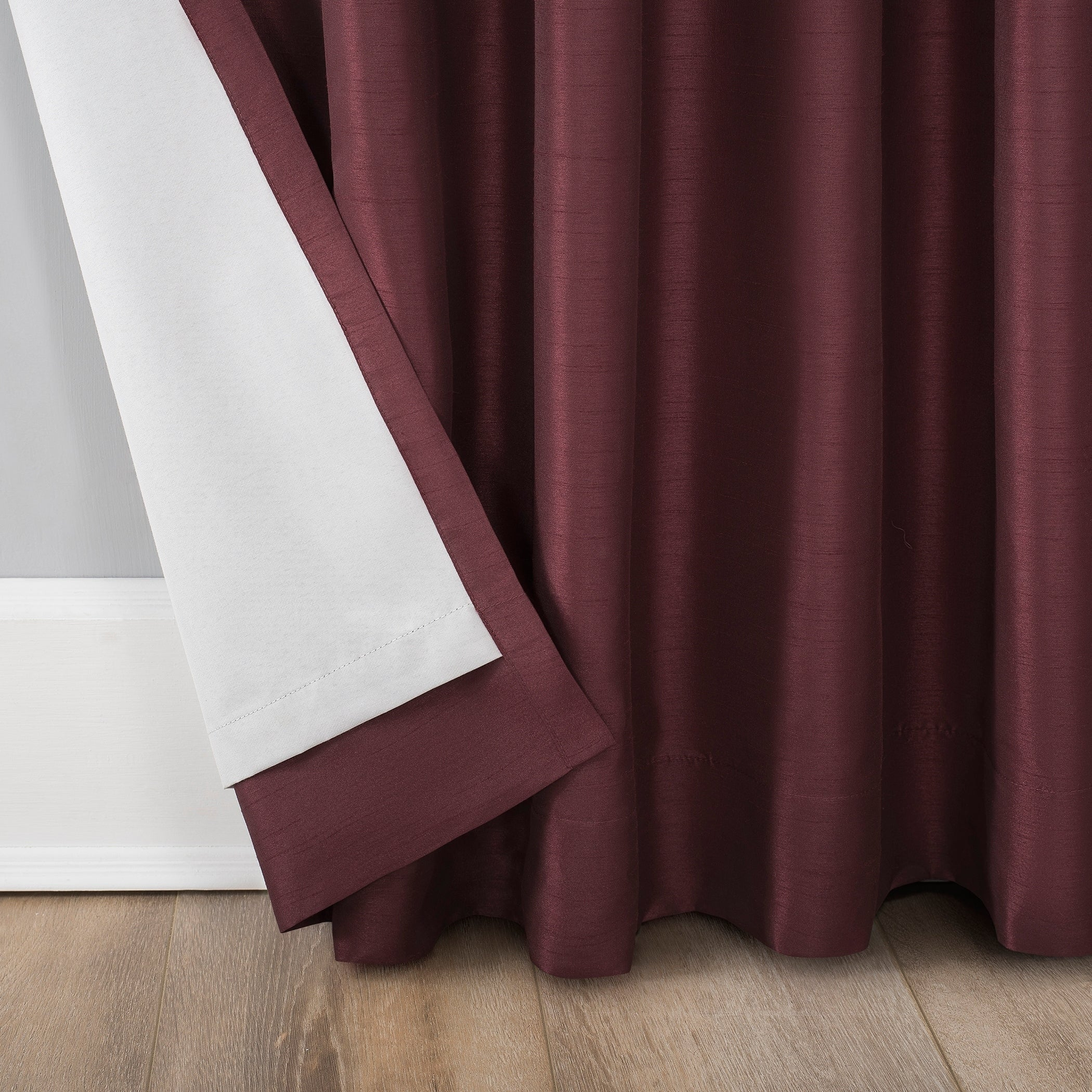Sun Zero Evelina Faux Dupioni Silk Extreme 100% Blackout Back Tab Curtain Panel Throughout Evelina Faux Dupioni Silk Extreme Blackout Back Tab Curtain Panels (View 8 of 20)
