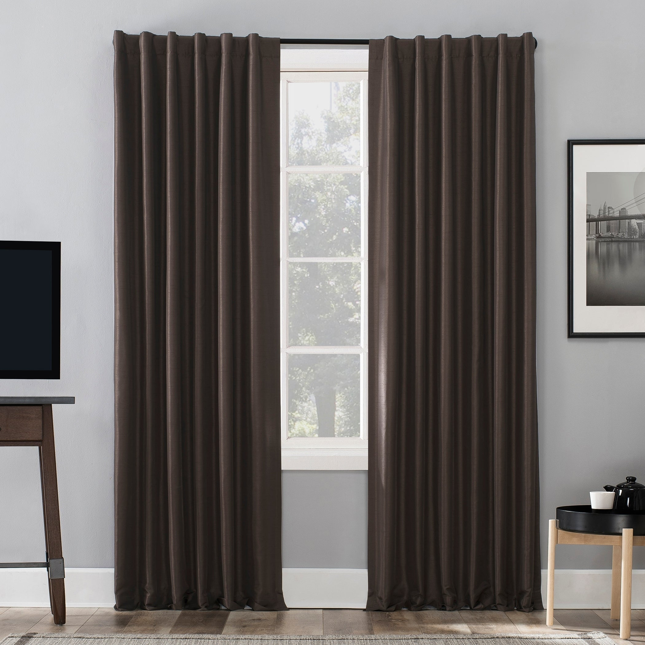 Sun Zero Evelina Faux Dupioni Silk Extreme 100% Blackout Back Tab Curtain Panel Within Evelina Faux Dupioni Silk Extreme Blackout Back Tab Curtain Panels (View 2 of 20)