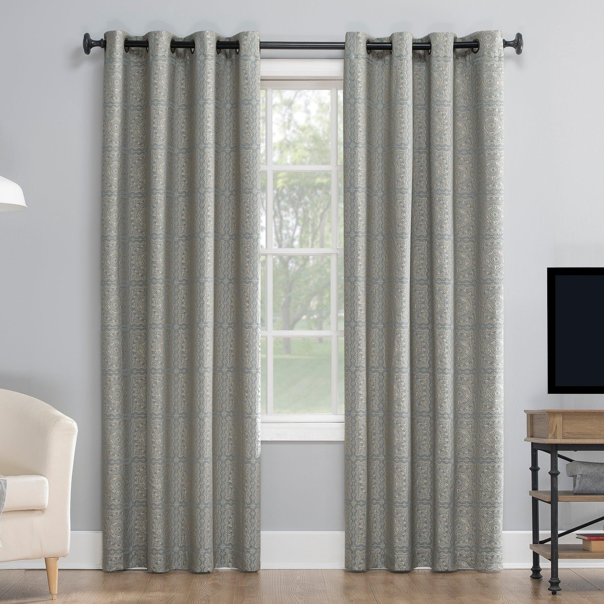 Sun Zero Evie Medallion Jacquard Extreme 100% Blackout Grommet Curtain Panel For Luxury Collection Faux Leather Blackout Single Curtain Panels (View 19 of 20)