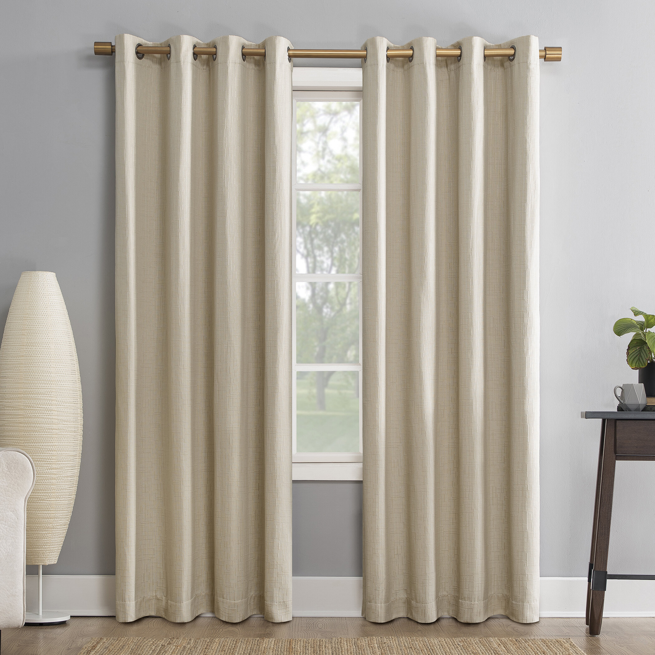 Sun Zero Gavlin Geometric Max Blackout Thermal Grommet For Evelina Faux Dupioni Silk Extreme Blackout Back Tab Curtain Panels (View 11 of 20)