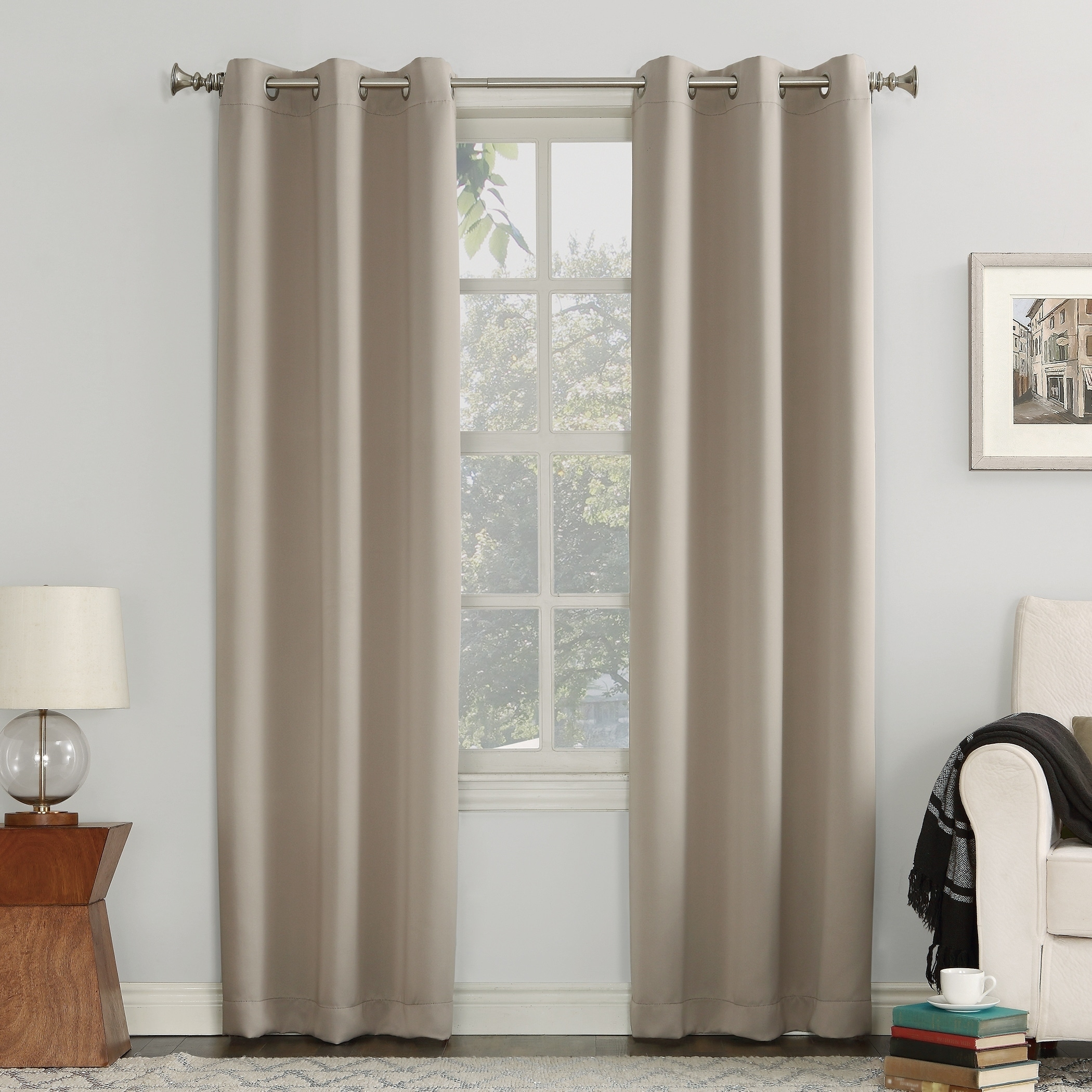Sun Zero Hayden Grommet Blackout Window Curtain Panel (stone Within Hayden Rod Pocket Blackout Panels (View 9 of 20)