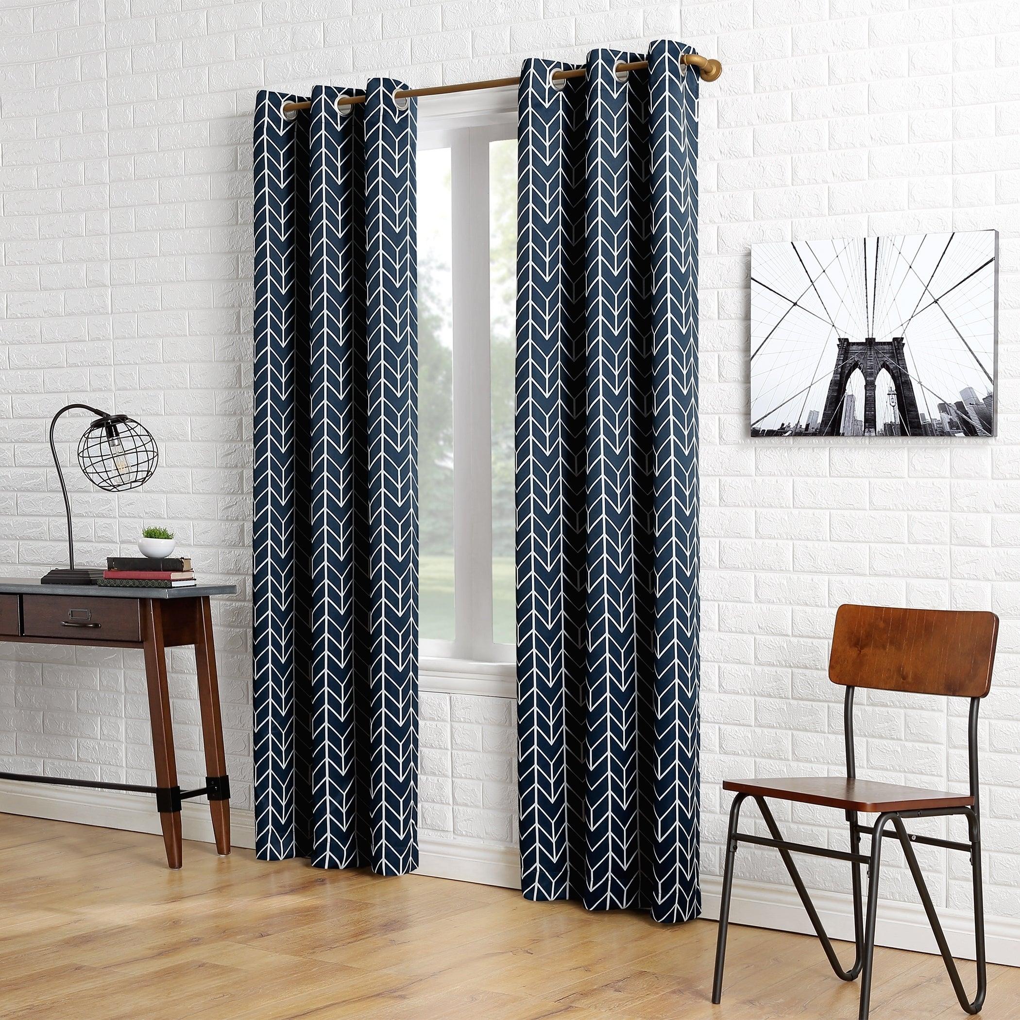 Sun Zero Kenwood Chevron Blackout Grommet Curtain Panel In Chevron Blackout Grommet Curtain Panels (View 16 of 20)