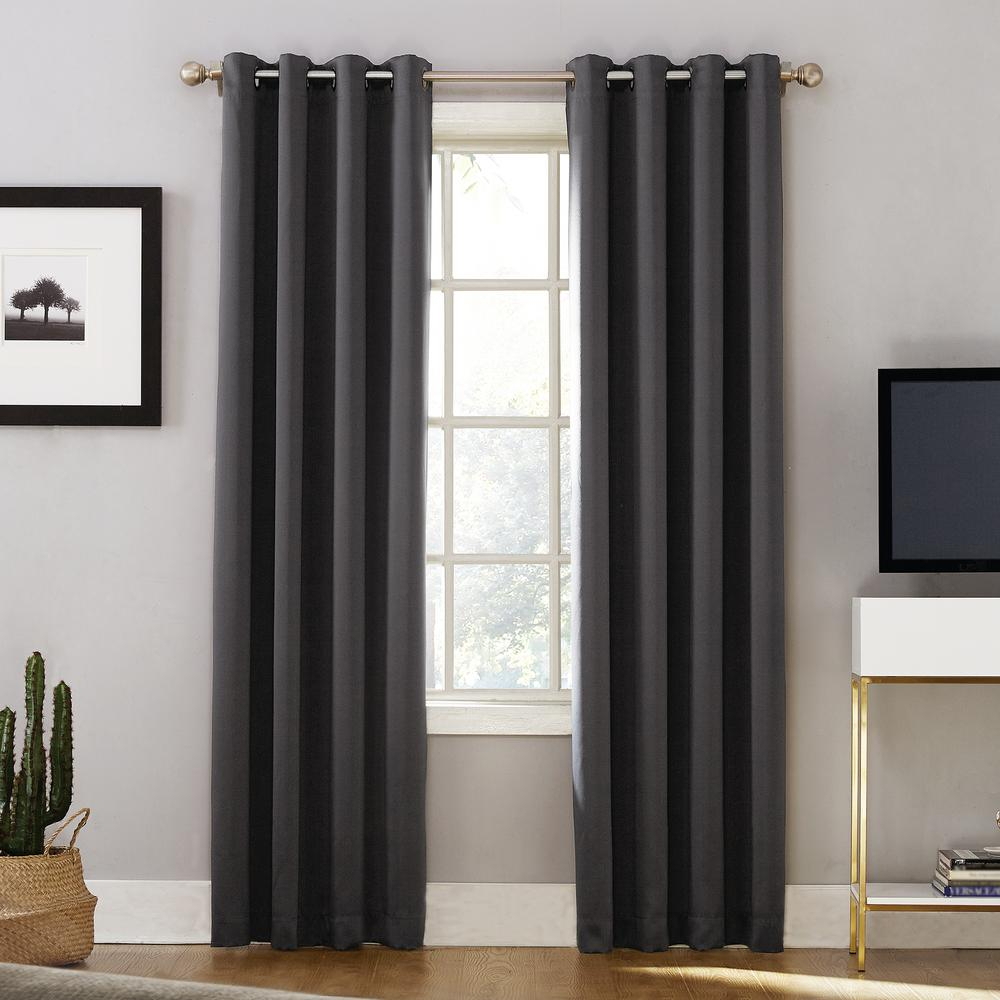 Sun Zero Oslo Woven Home Theater Grade Blackout Coal Grommet Single Curtain Panel – 52 In. W X 95 In (View 16 of 31)