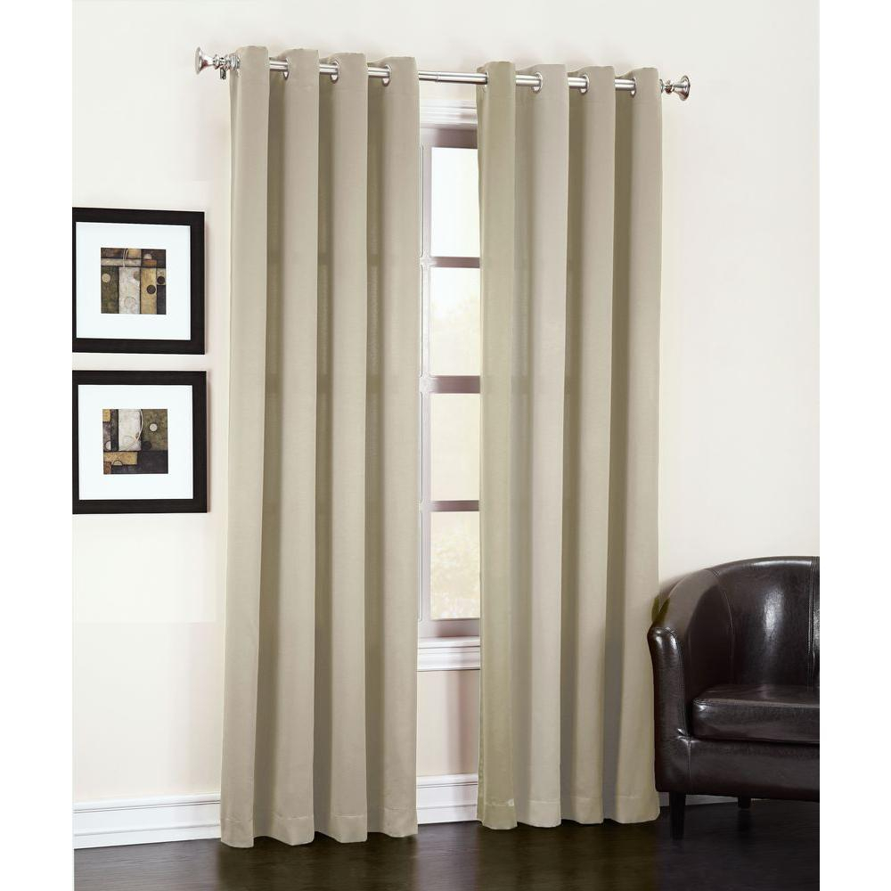 Sun Zero Semi Opaque Stone Gregory Room Darkening Grommet Top Curtain Panel, 54 In. W X 84 In (View 14 of 20)