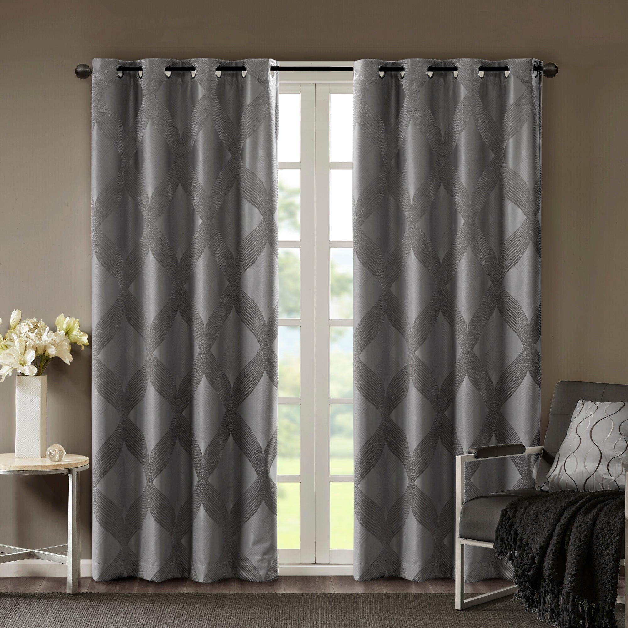 Sunsmart Abel Ogee Knitted Jacquard Total Blackout Curtain Panel For Gracewood Hollow Tucakovic Energy Efficient Fabric Blackout Curtains (View 18 of 20)