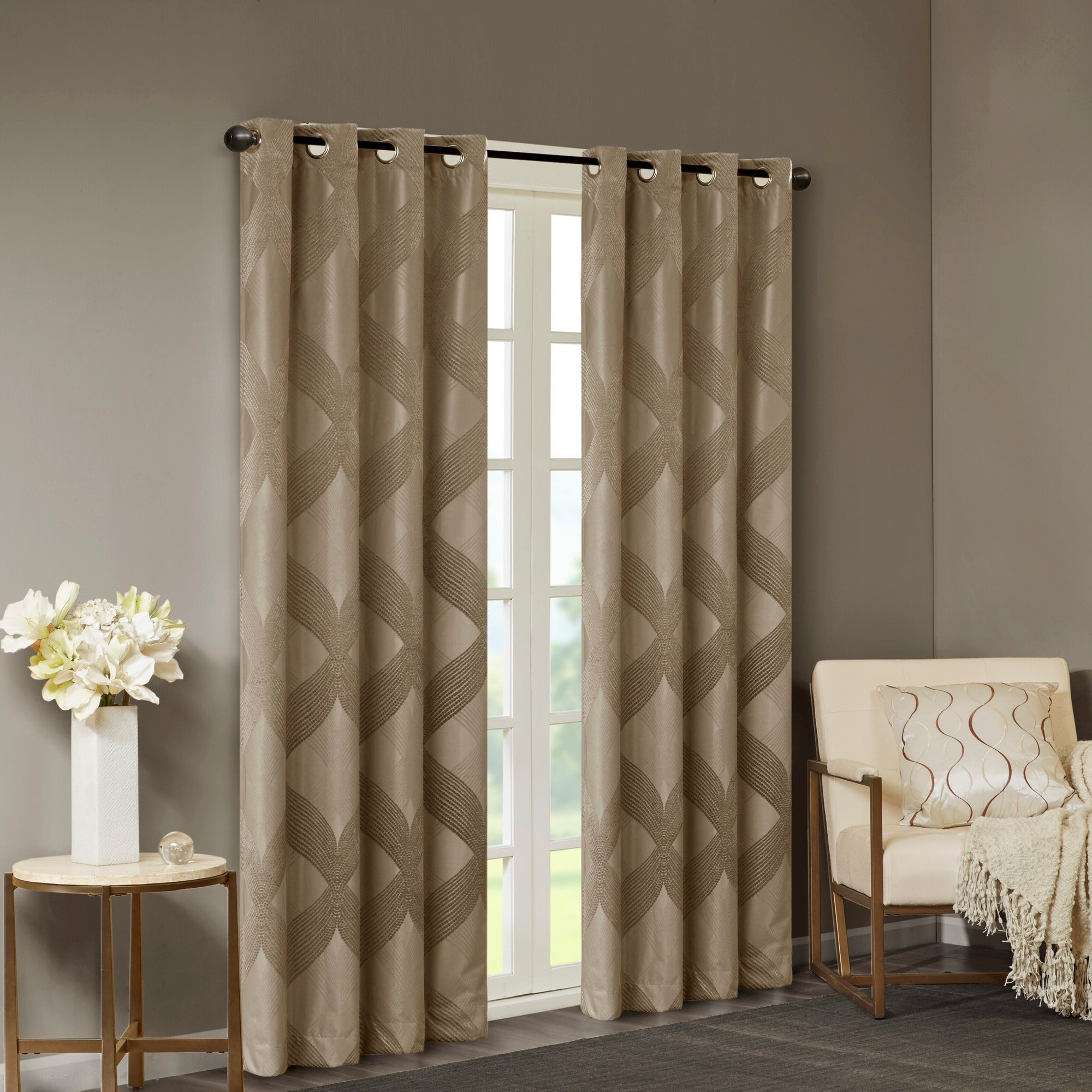 Sunsmart Abel Ogee Knitted Jacquard Total Blackout Curtain Panel For Gracewood Hollow Tucakovic Energy Efficient Fabric Blackout Curtains (View 7 of 20)