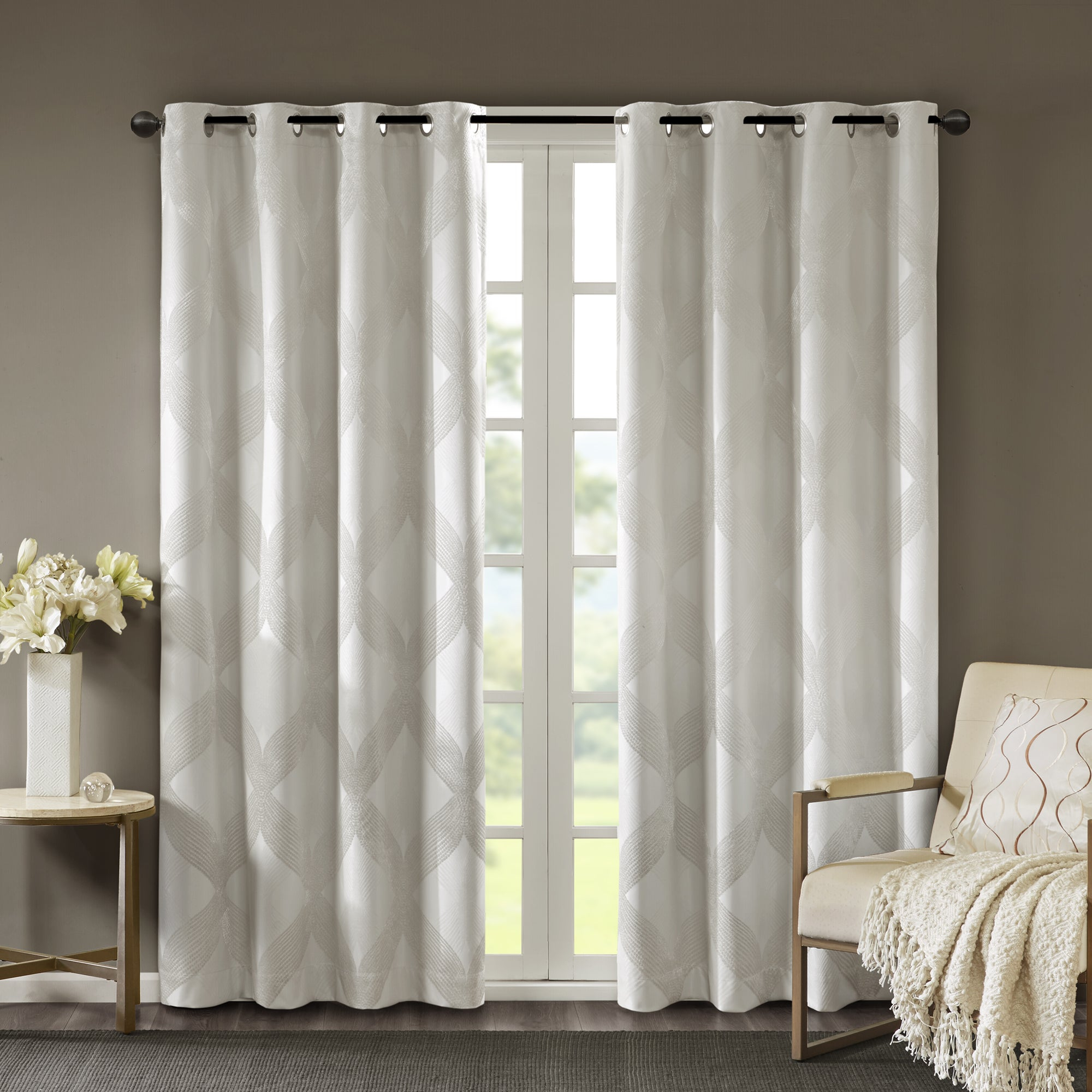 Featured Photo of Sunsmart Abel Ogee Knitted Jacquard Total Blackout Curtain Panels