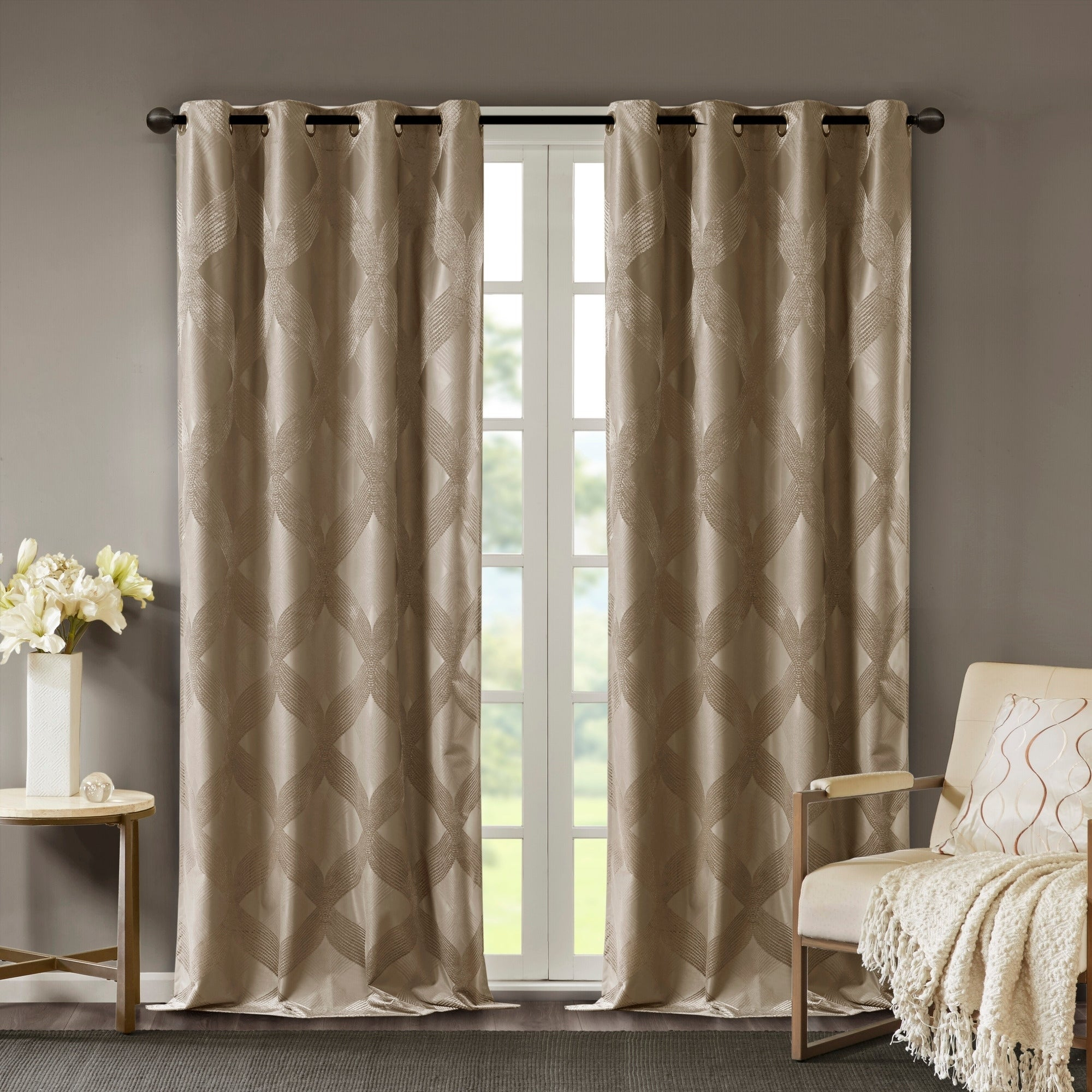 Sunsmart Abel Ogee Knitted Jacquard Total Blackout Curtain Panel Regarding Sunsmart Dahlia Paisley Printed Total Blackout Single Window Curtain Panels (View 14 of 30)