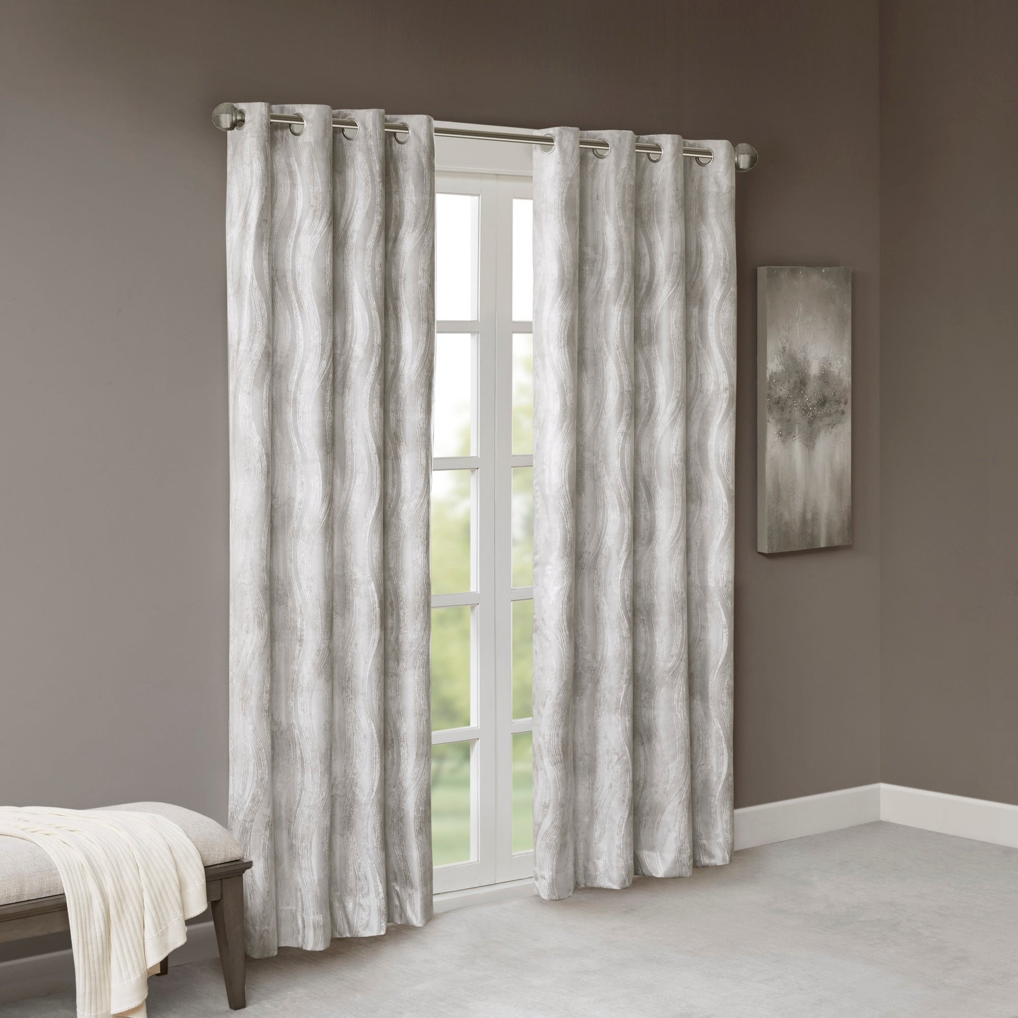 Sunsmart Alastair Ivory Printed Jacquard Grommet Top Total Blackout Curtain Within Sunsmart Dahlia Paisley Printed Total Blackout Single Window Curtain Panels (View 19 of 30)