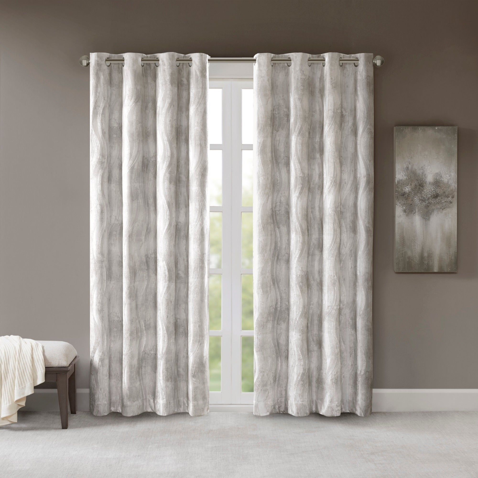 Sunsmart Alastair Ivory Printed Jacquard Total Blackout Single Curtain Panel With Regard To Sunsmart Abel Ogee Knitted Jacquard Total Blackout Curtain Panels (View 25 of 30)