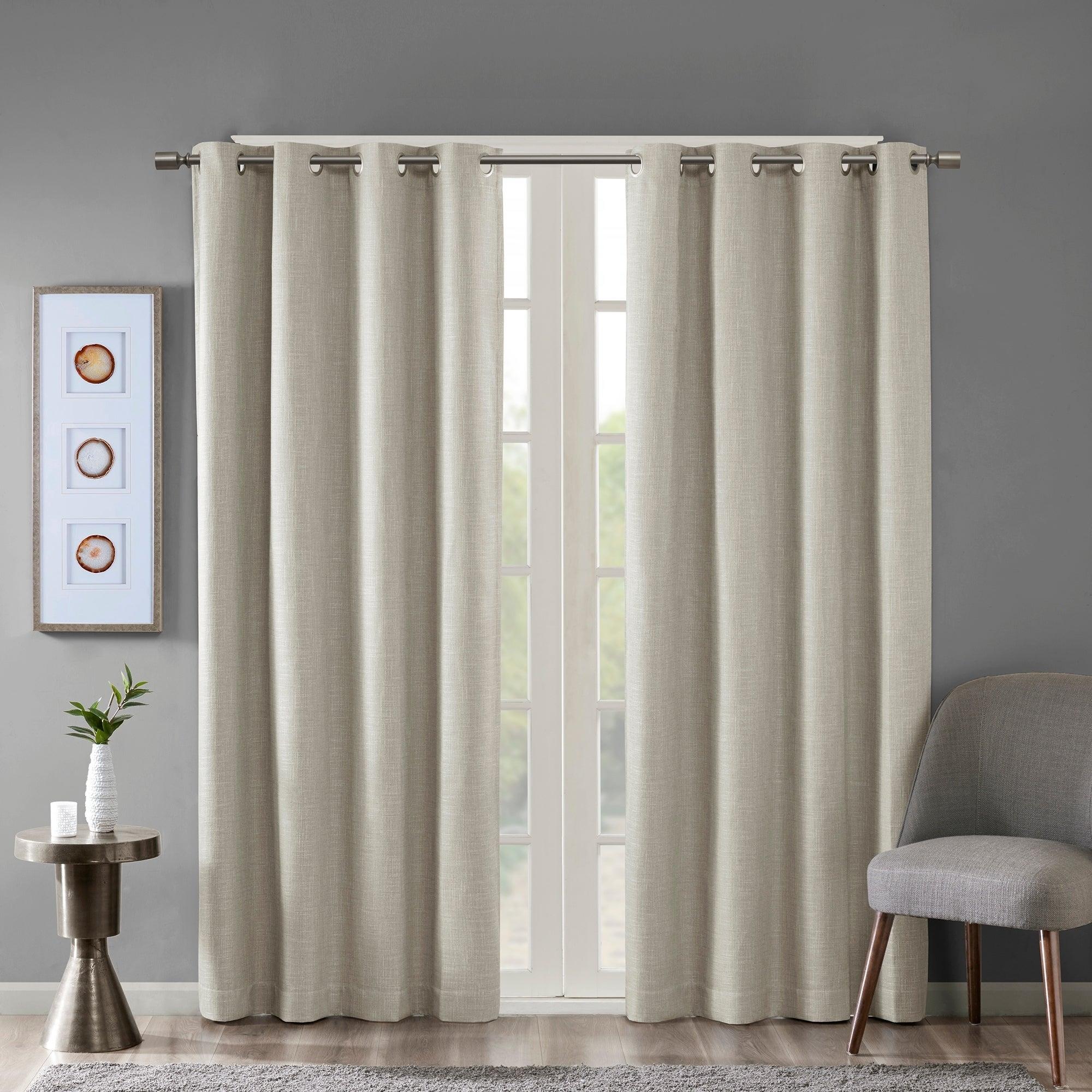 Sunsmart Arlie Printed Heathered Blackout Single Window Curtain Panel 4 Color Option With Hayden Grommet Blackout Single Curtain Panels (View 18 of 20)